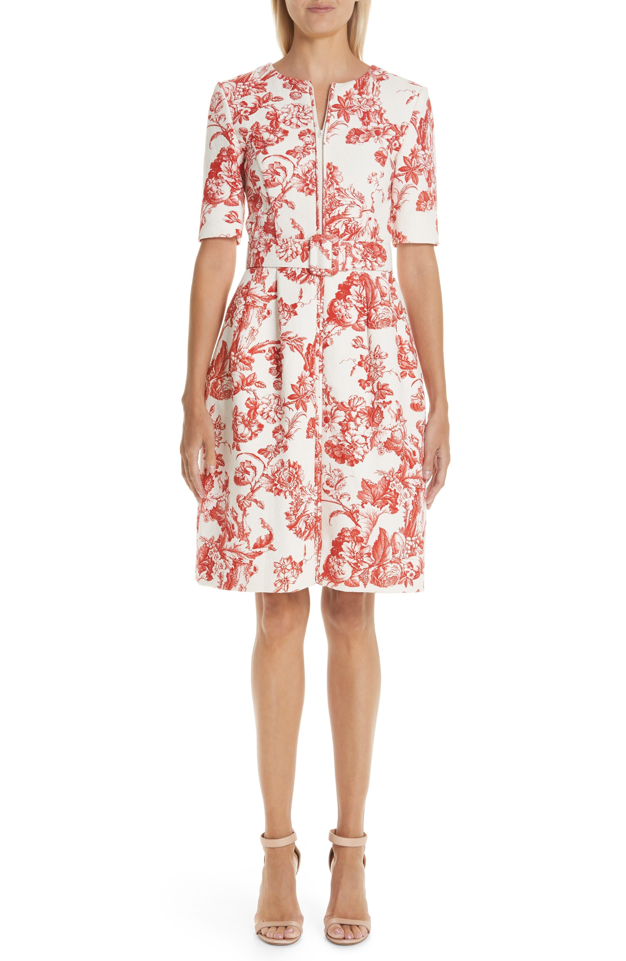 Oscar De La Renta Toile Print Belted Zip Front Dress, Red