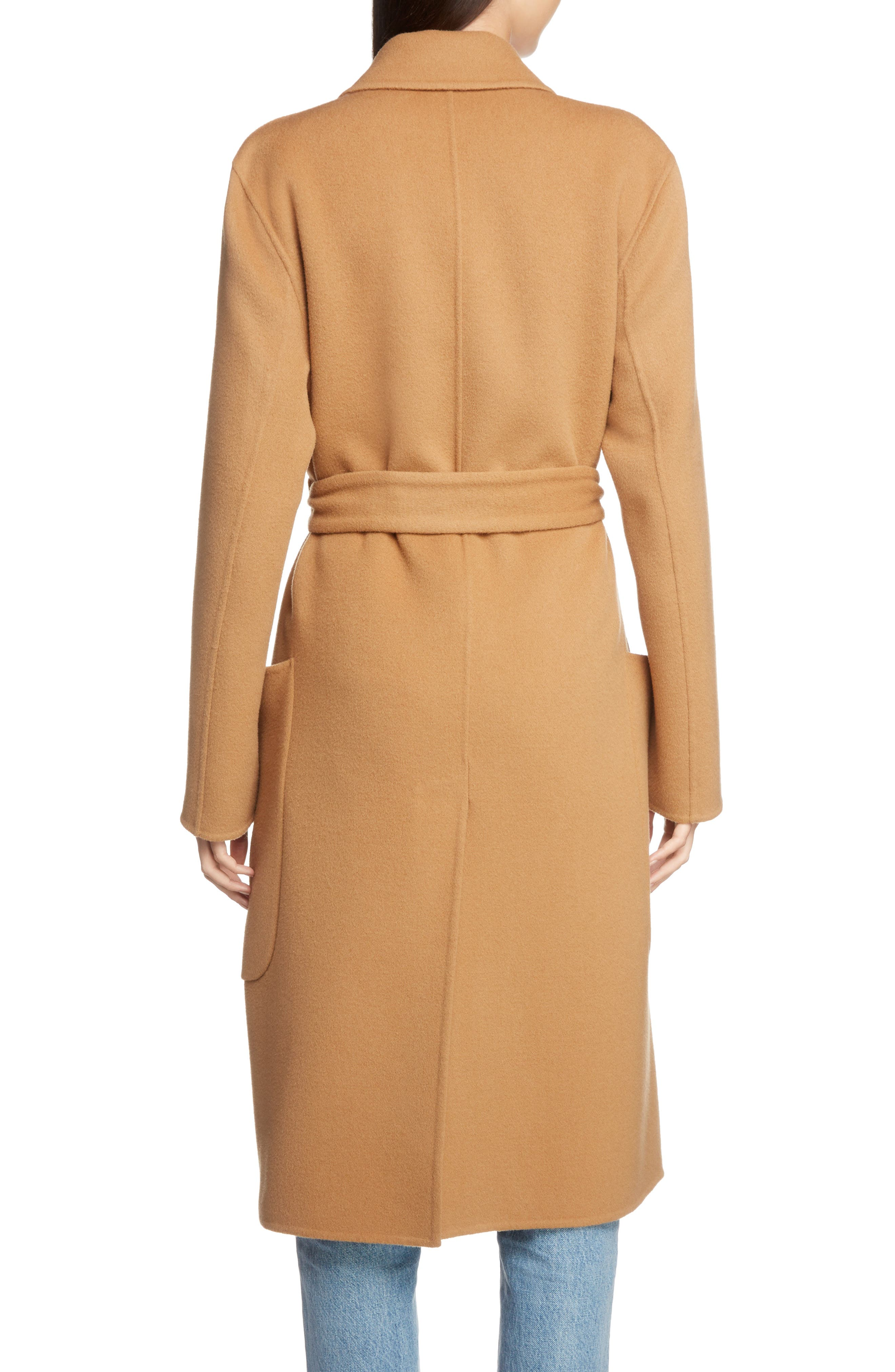 Belted Double Wool & Cashmere Coat,                             Alternate thumbnail 2, color,                             CAMEL BROWN