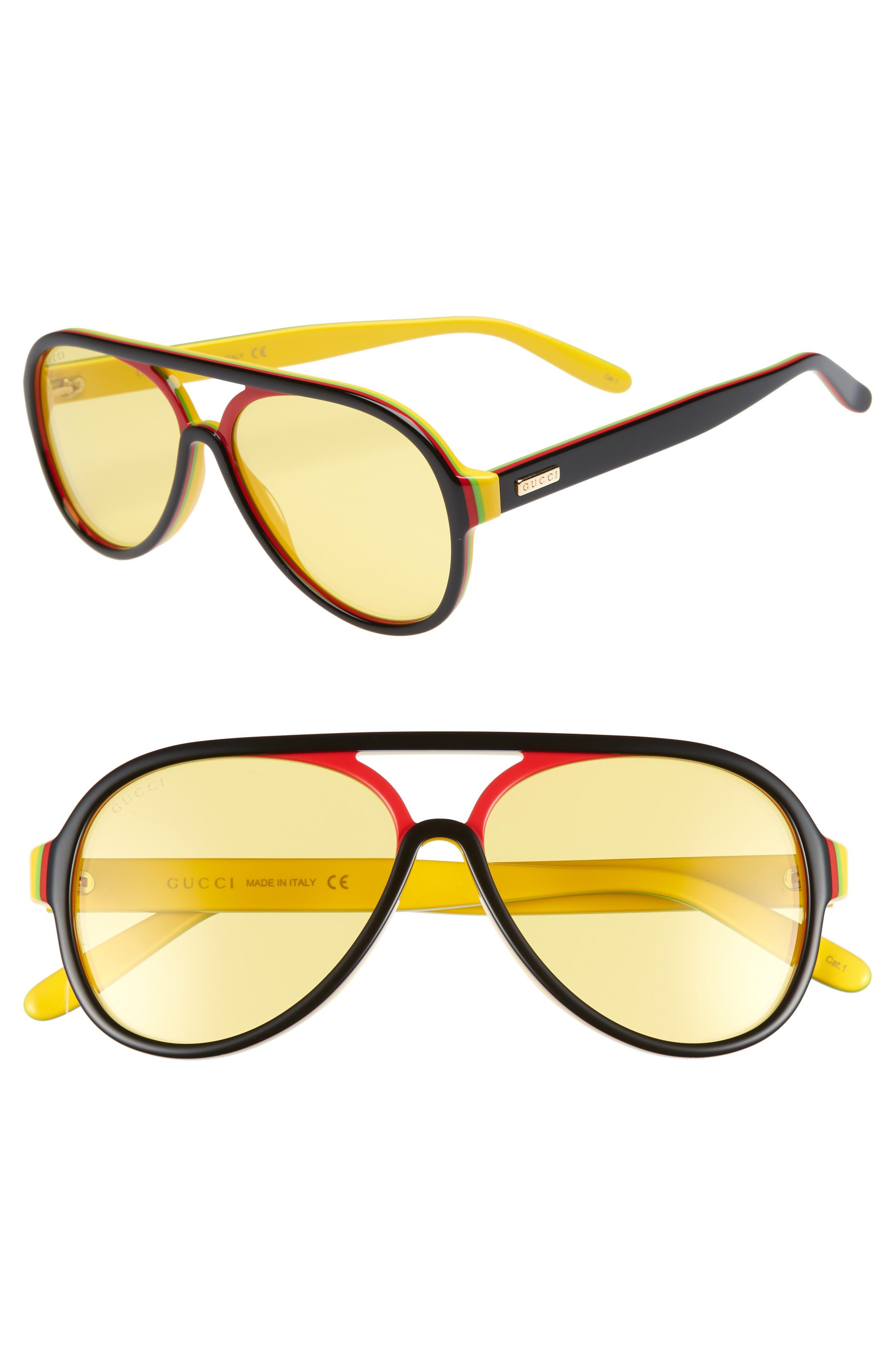 GUCCI,                             57mm Aviator Sunglasses,                             Main thumbnail 1, color,                             005