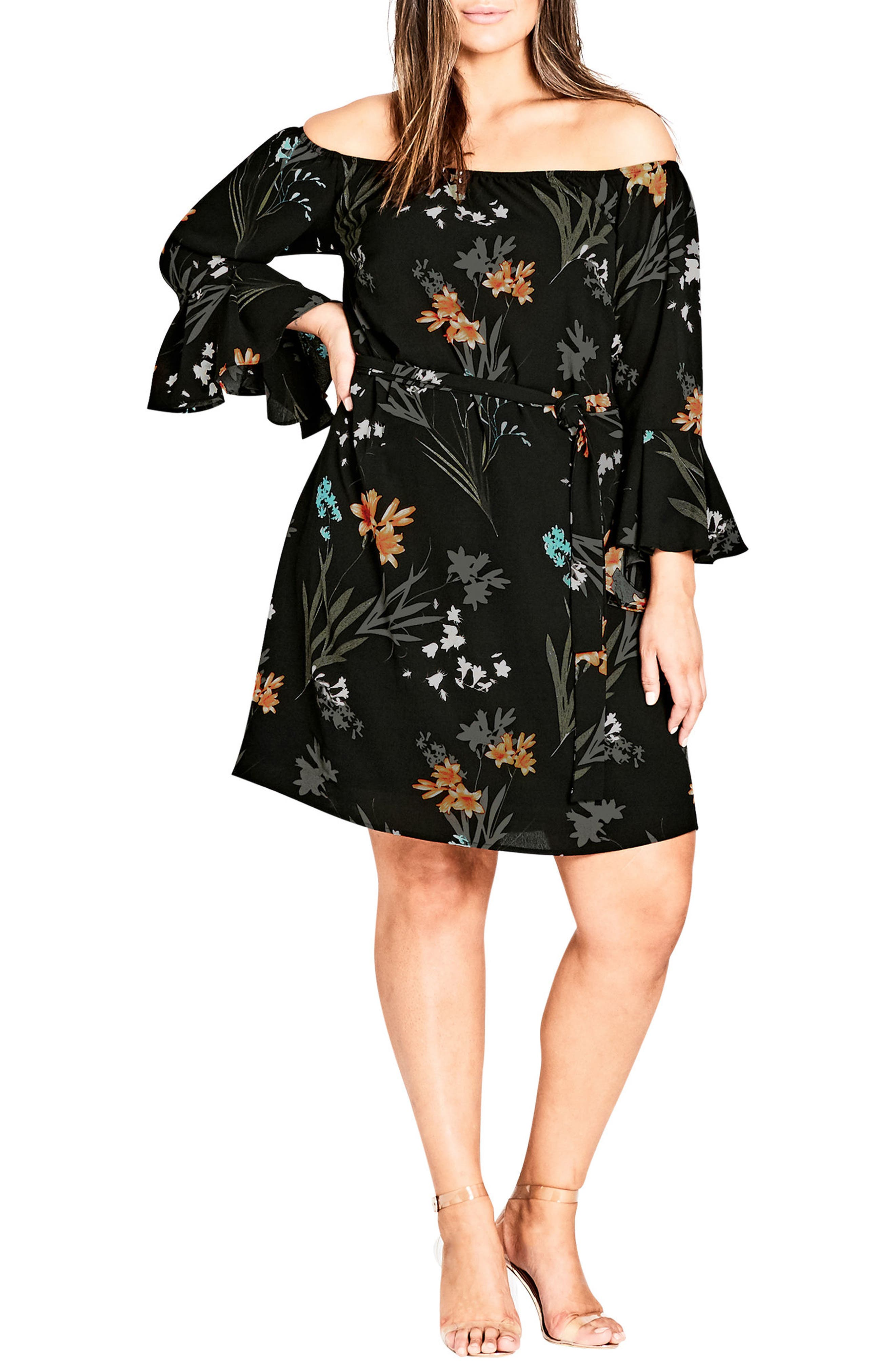 Plus Size City Chic Wild Floral Off The Shoulder Tunic Dress