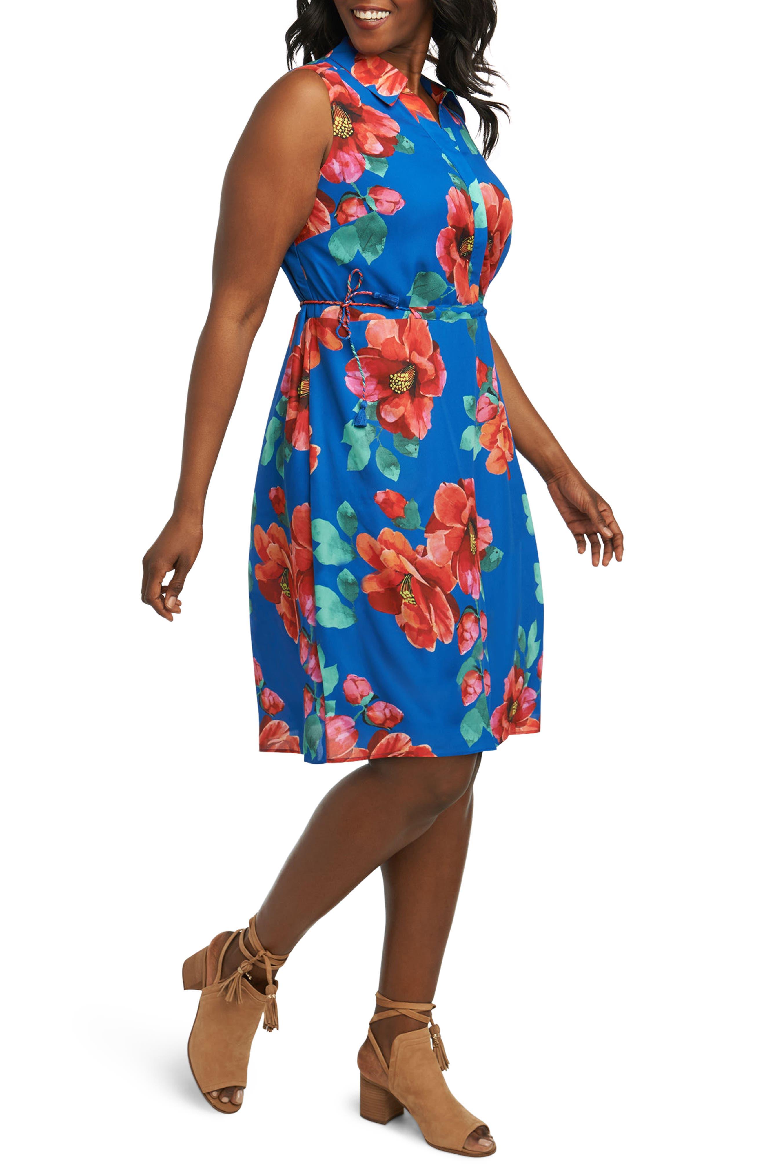 Adessia Hibiscus Floral Tassel Tie Dress,                             Alternate thumbnail 3, color,                             MULTI