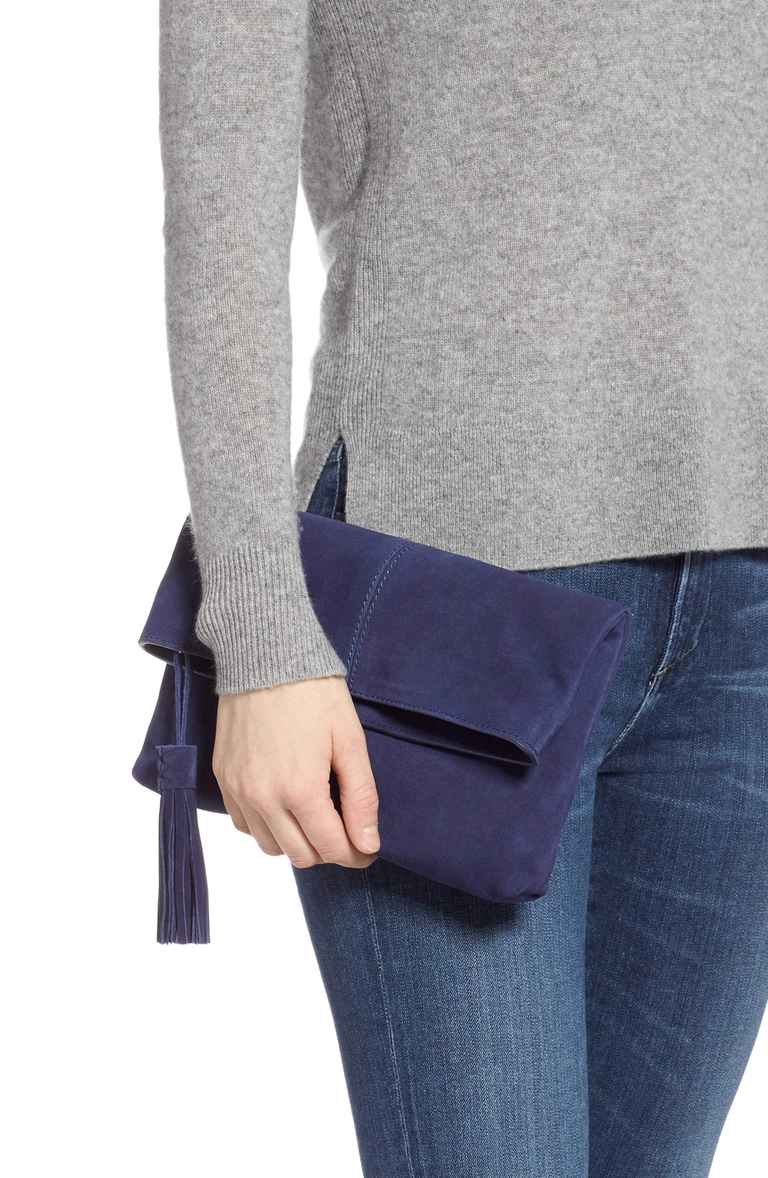Suede Clutch,                             Alternate thumbnail 2, color,                             NAVY