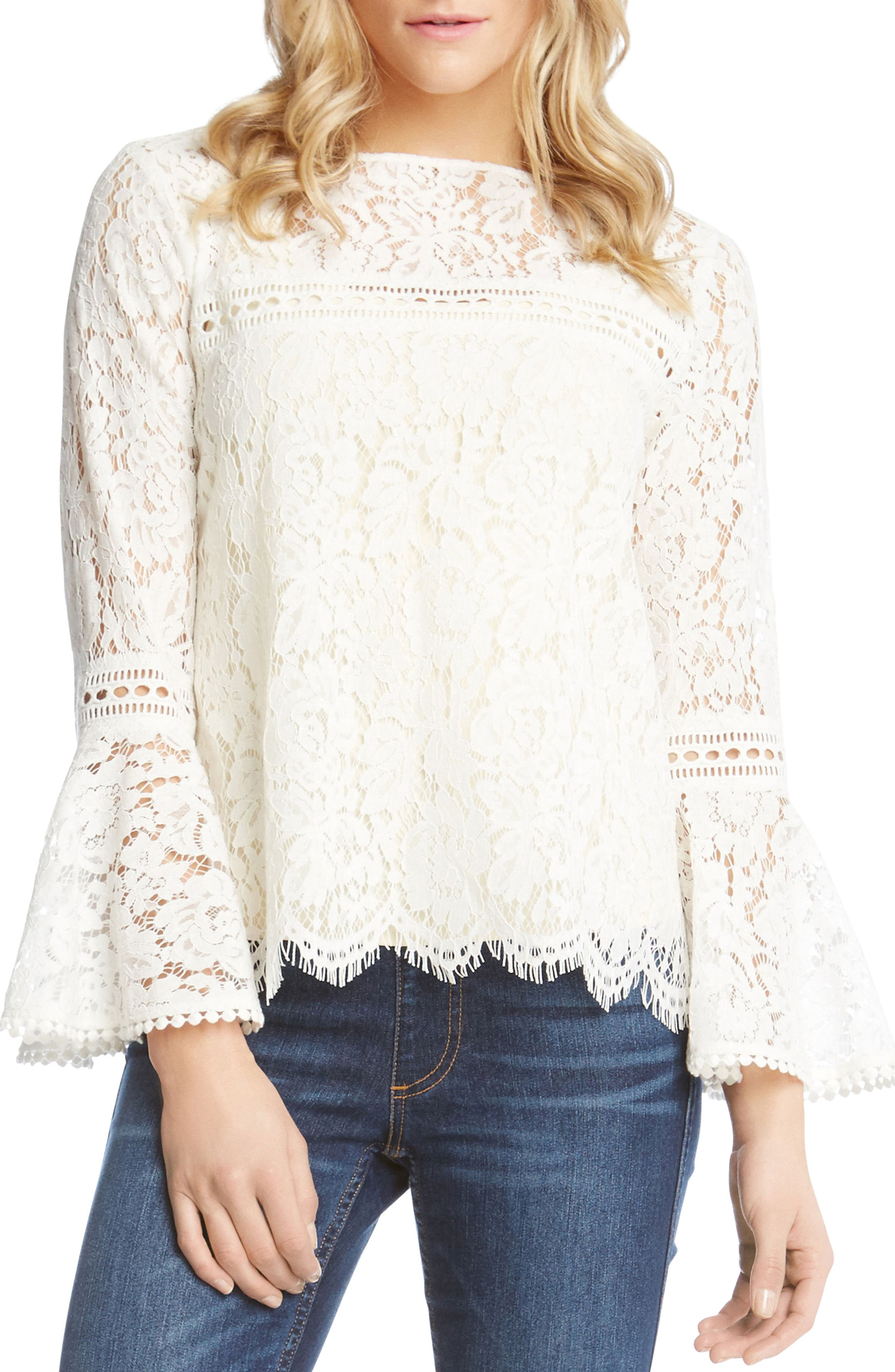 Embellished Lace Bell Sleeve Top,                             Main thumbnail 1, color,                             909