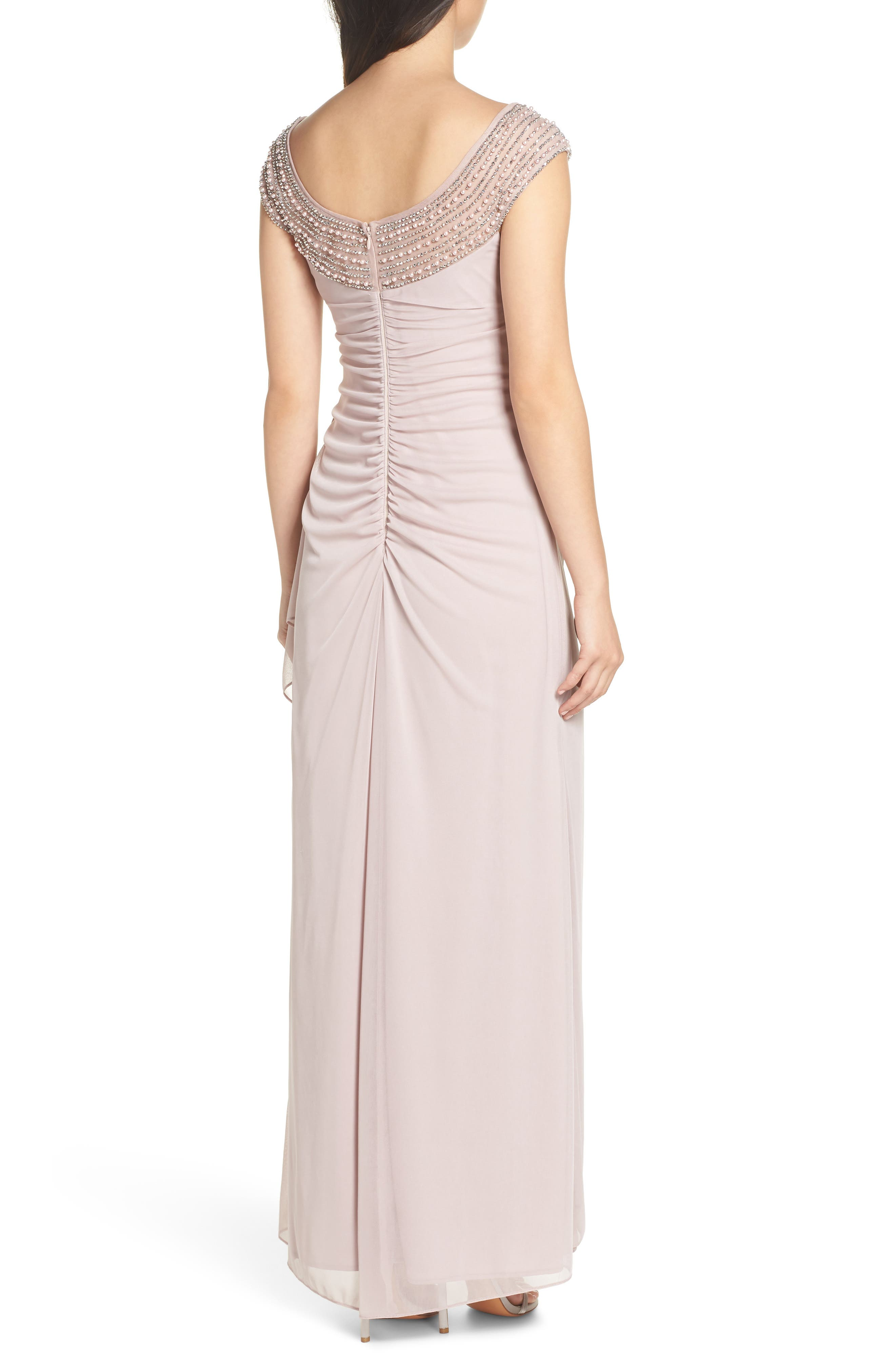 Bead Embellished Gown,                             Alternate thumbnail 2, color,                             TAUPE/ SILVER
