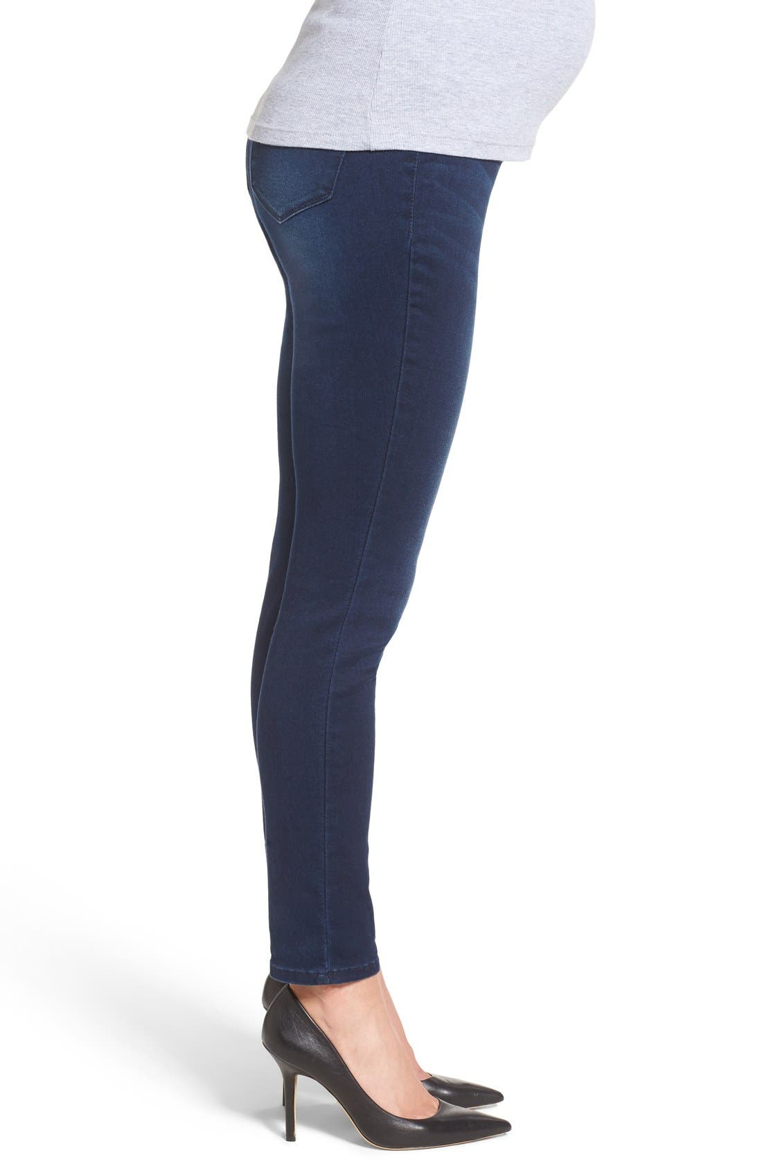 'Ankle Biter' Over the Bump Rolled Cuff Maternity Skinny Jeans,                             Alternate thumbnail 9, color,