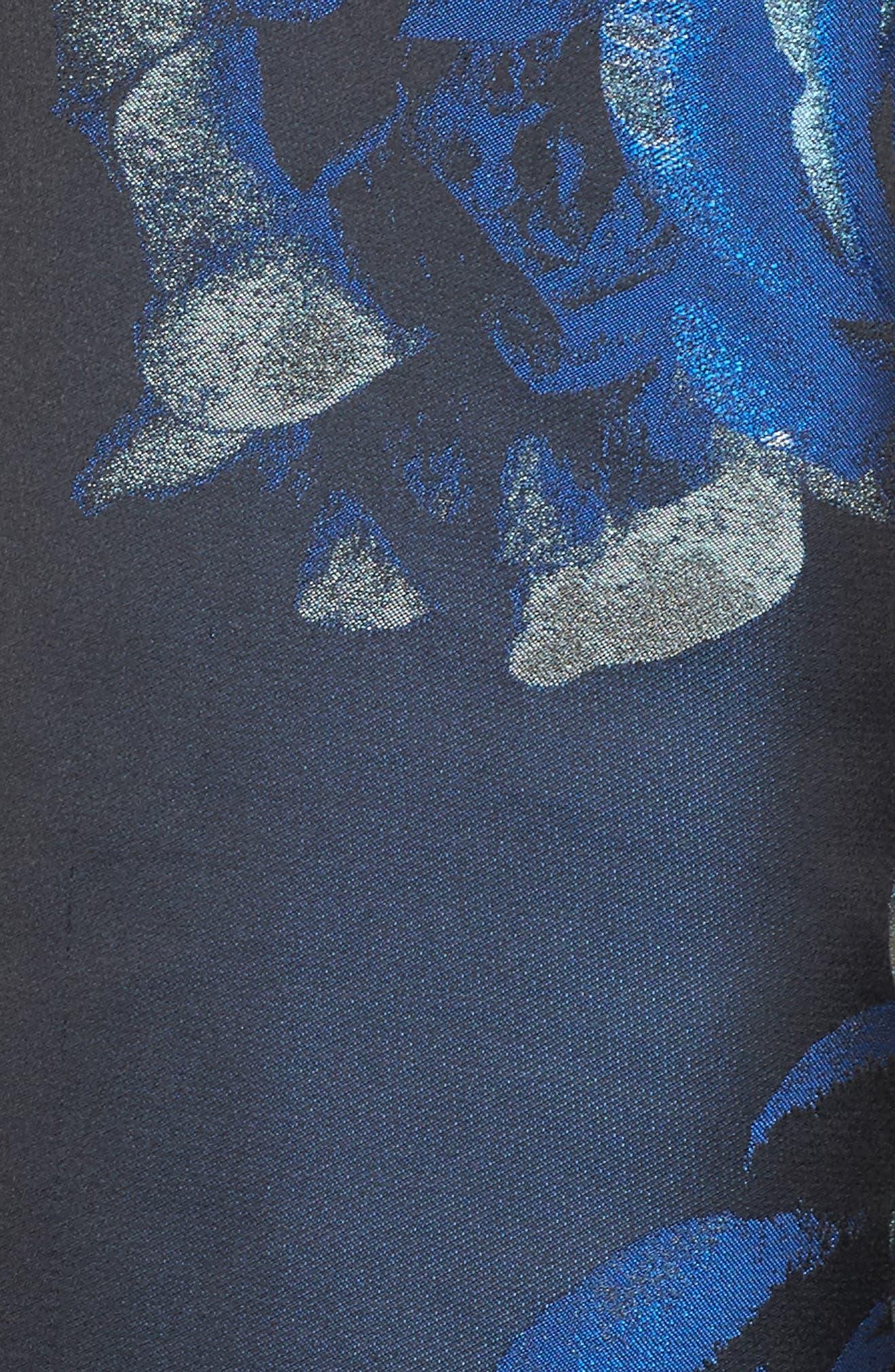 Jacquard Fit & Flare Dress,                             Alternate thumbnail 5, color,                             004