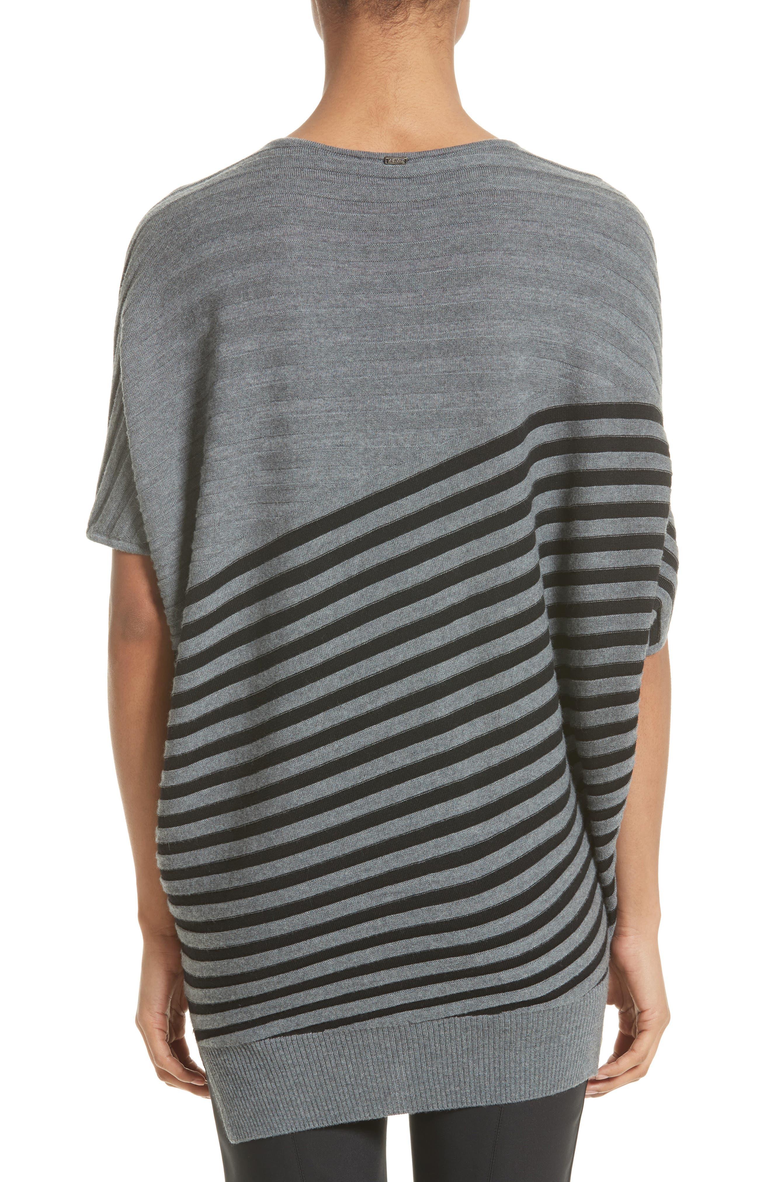 Stripe Wool Asymmetrical Sweater,                             Alternate thumbnail 2, color,                             030