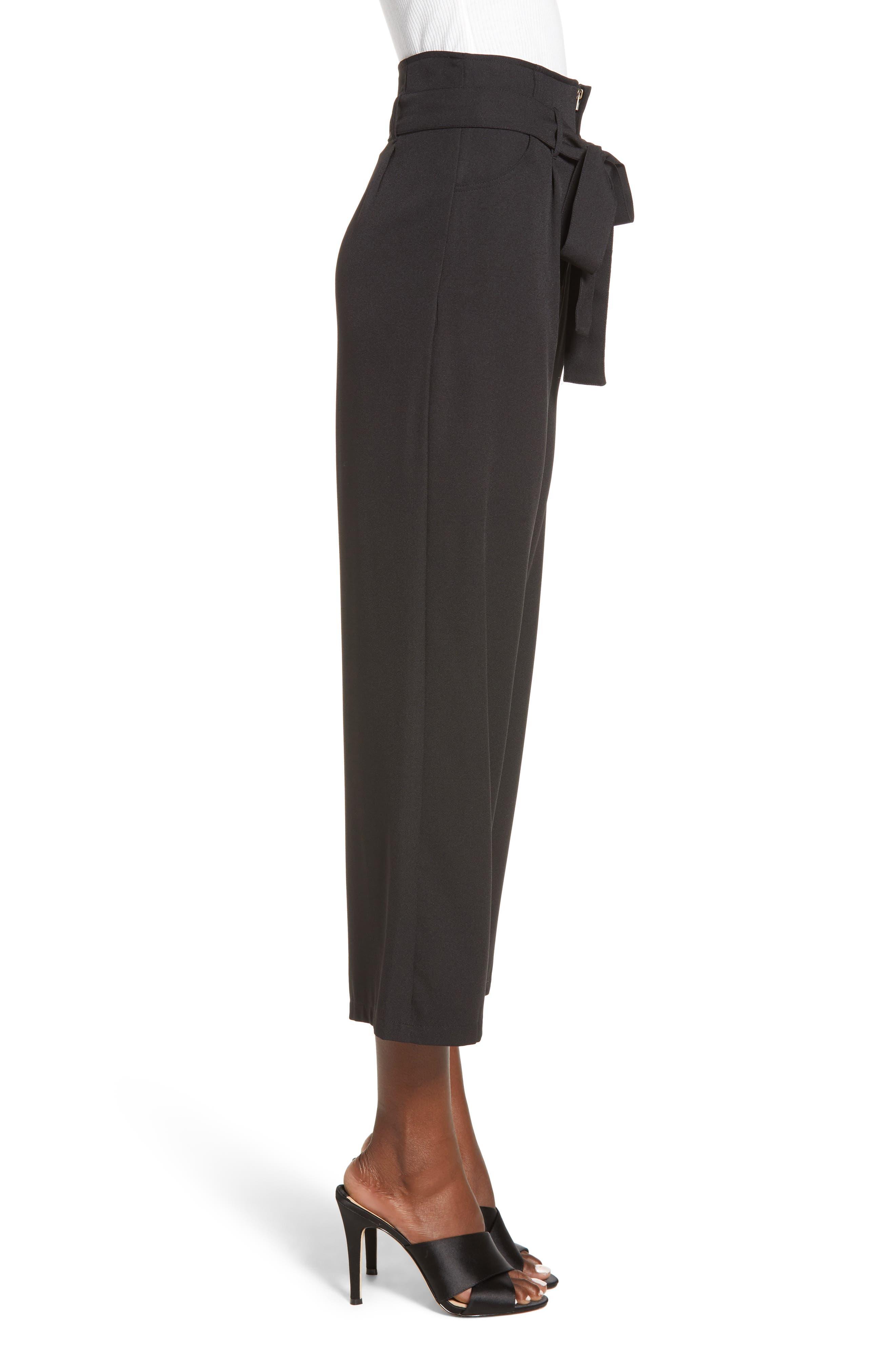 Tie Waist Crop Pants,                             Alternate thumbnail 3, color,                             001