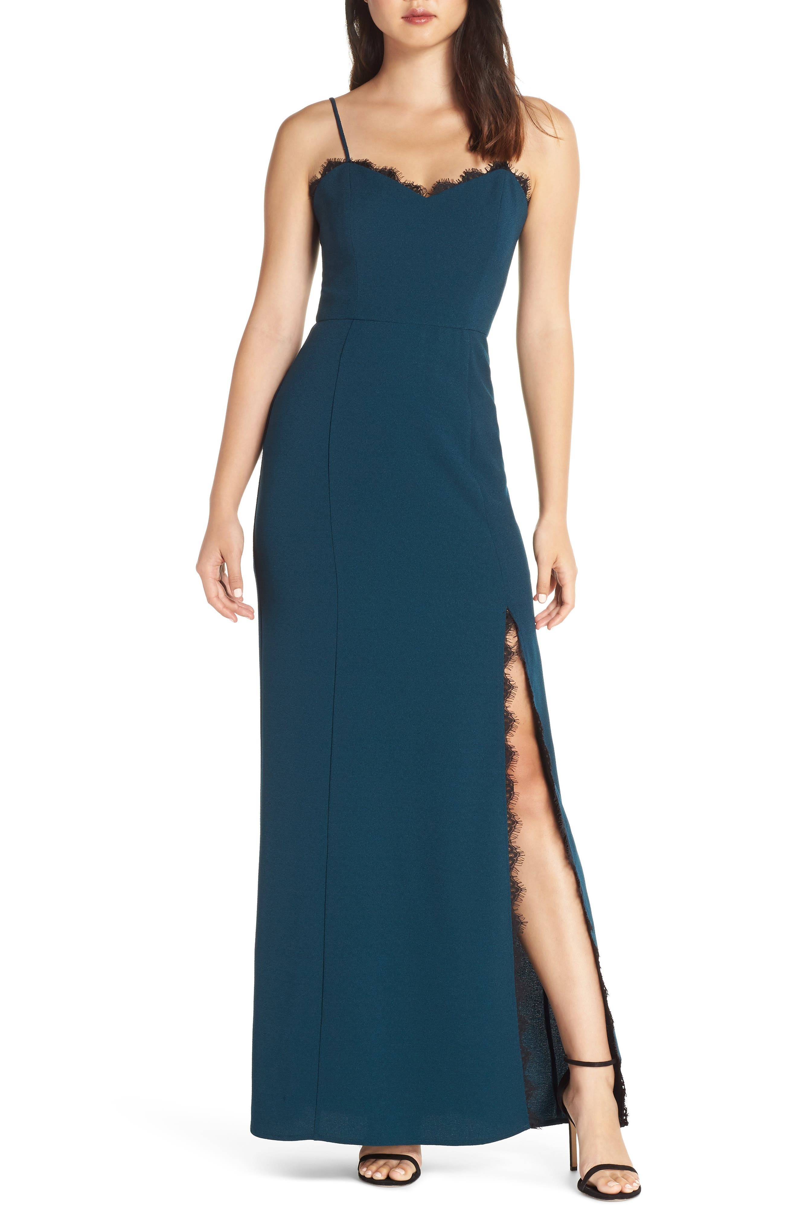 WAYF The Mia Lace Trim Front Slit Gown in Dark Teal