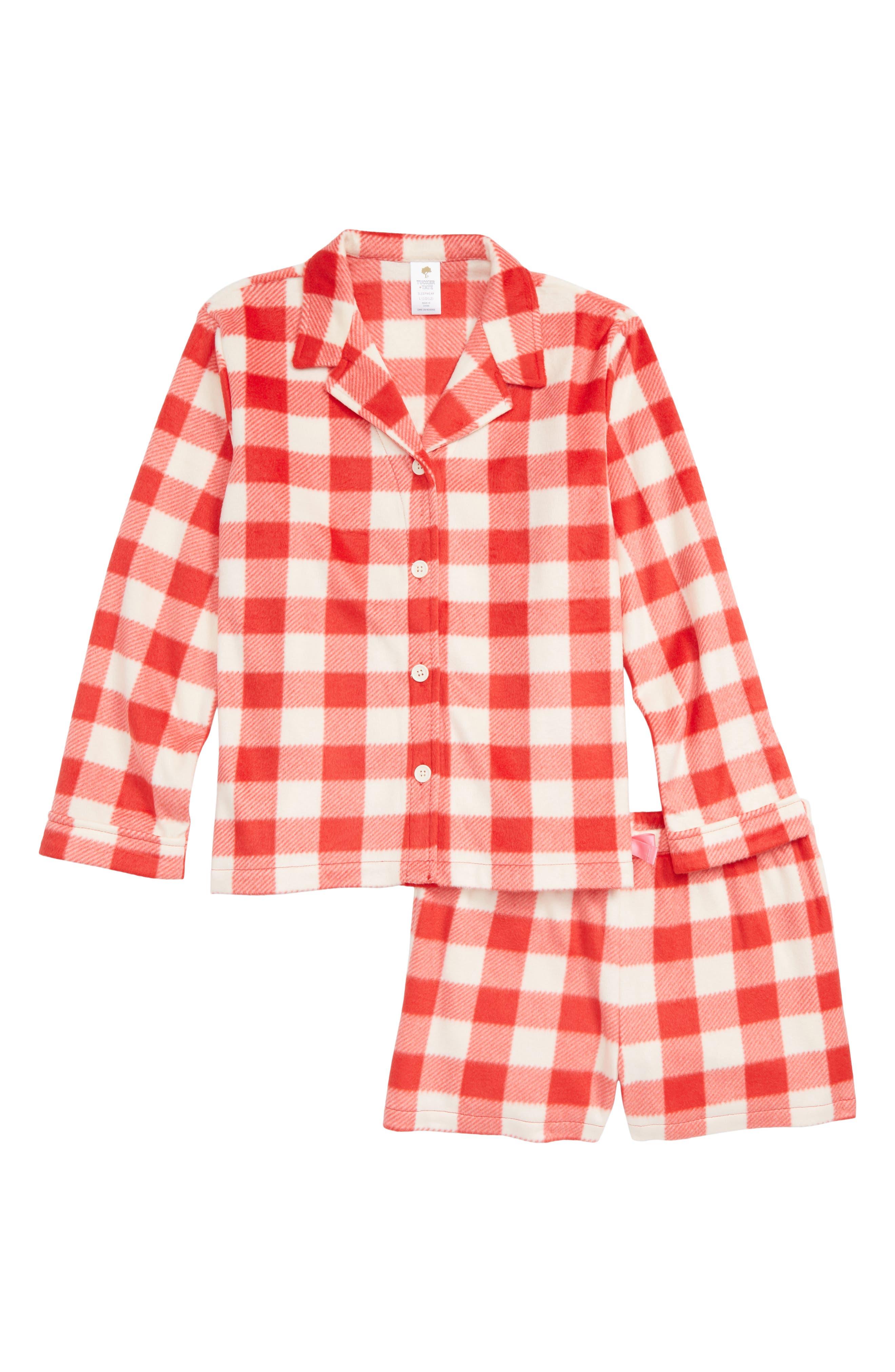 Collared Fleece Pajamas,                             Main thumbnail 1, color,                             RED BLOOM CHECK