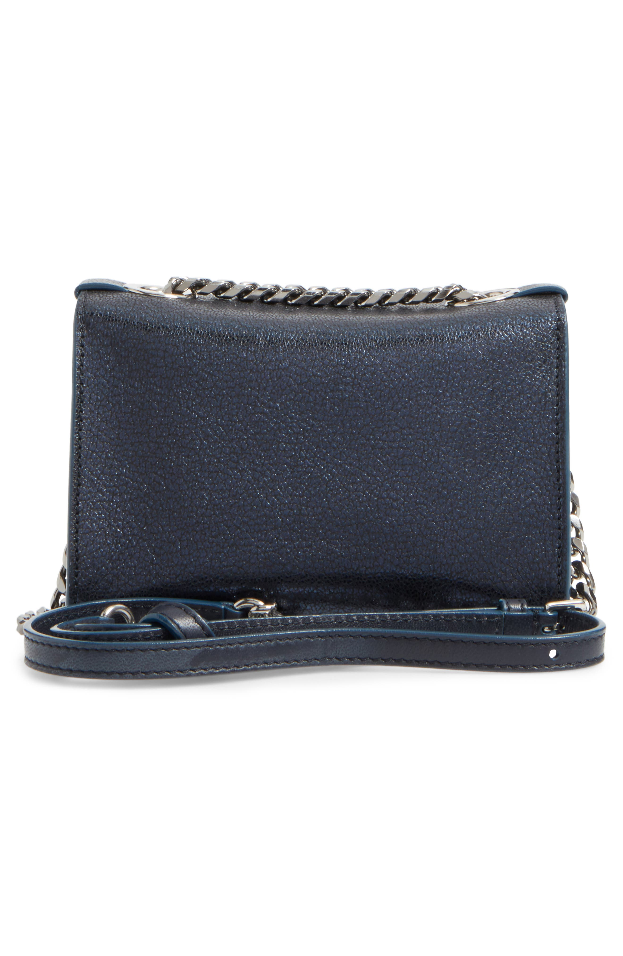 Mini Rebel Metallic Leather Crossbody Bag,                             Alternate thumbnail 3, color,                             400