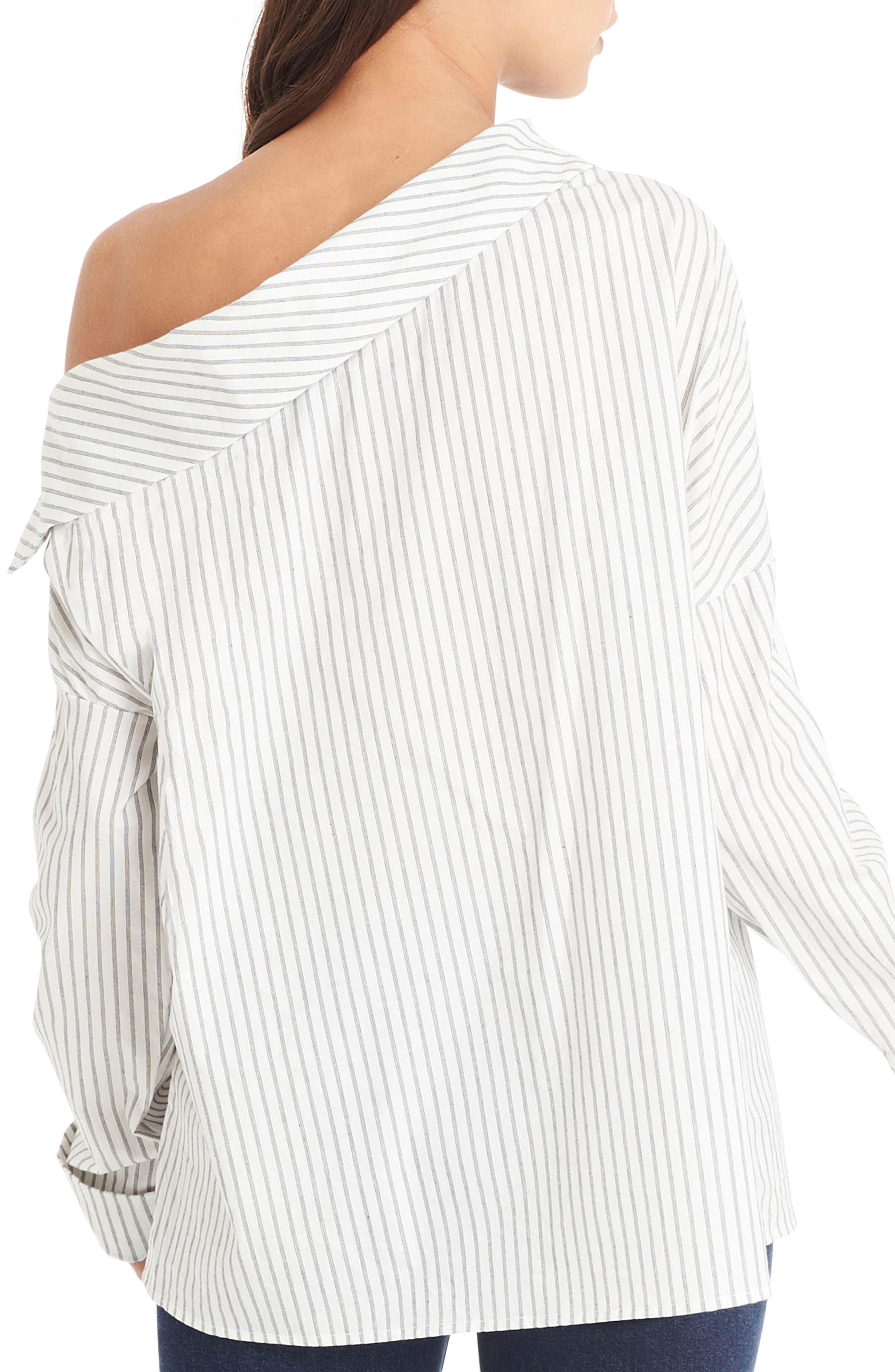 One-Shoulder Stripe Top,                             Alternate thumbnail 2, color,                             020