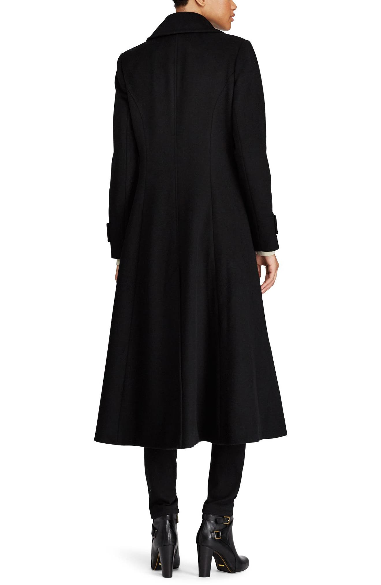Double Breasted Long Coat,                             Alternate thumbnail 2, color,                             001