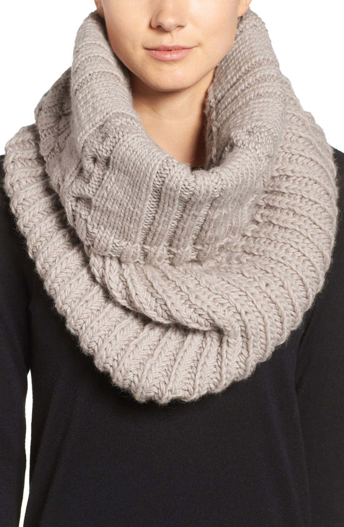 Oversize Cable Knit Wool Infinity Scarf,                             Main thumbnail 3, color,