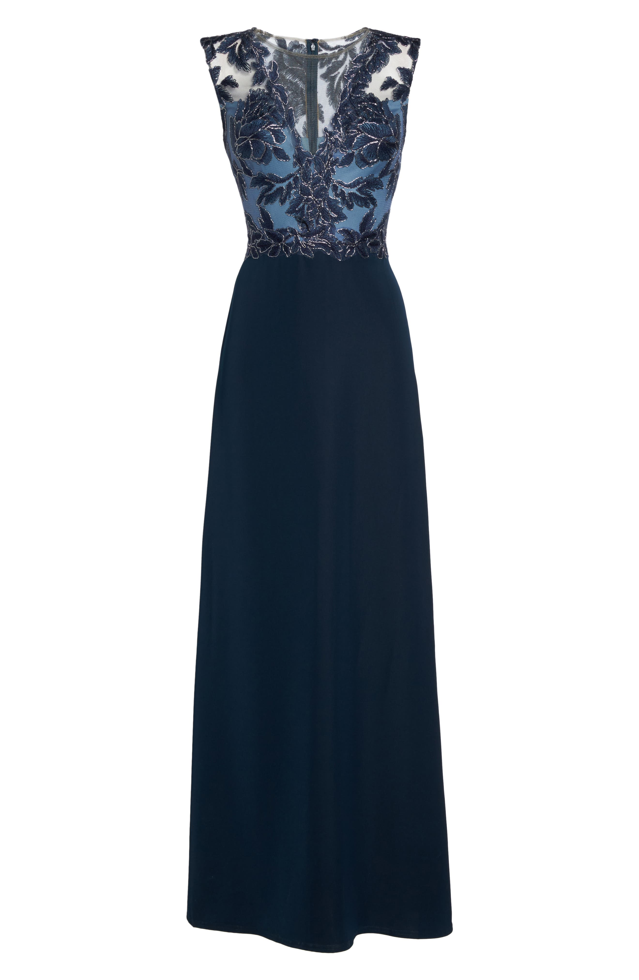Embroidered Mesh & Crepe Gown,                             Alternate thumbnail 6, color,                             466