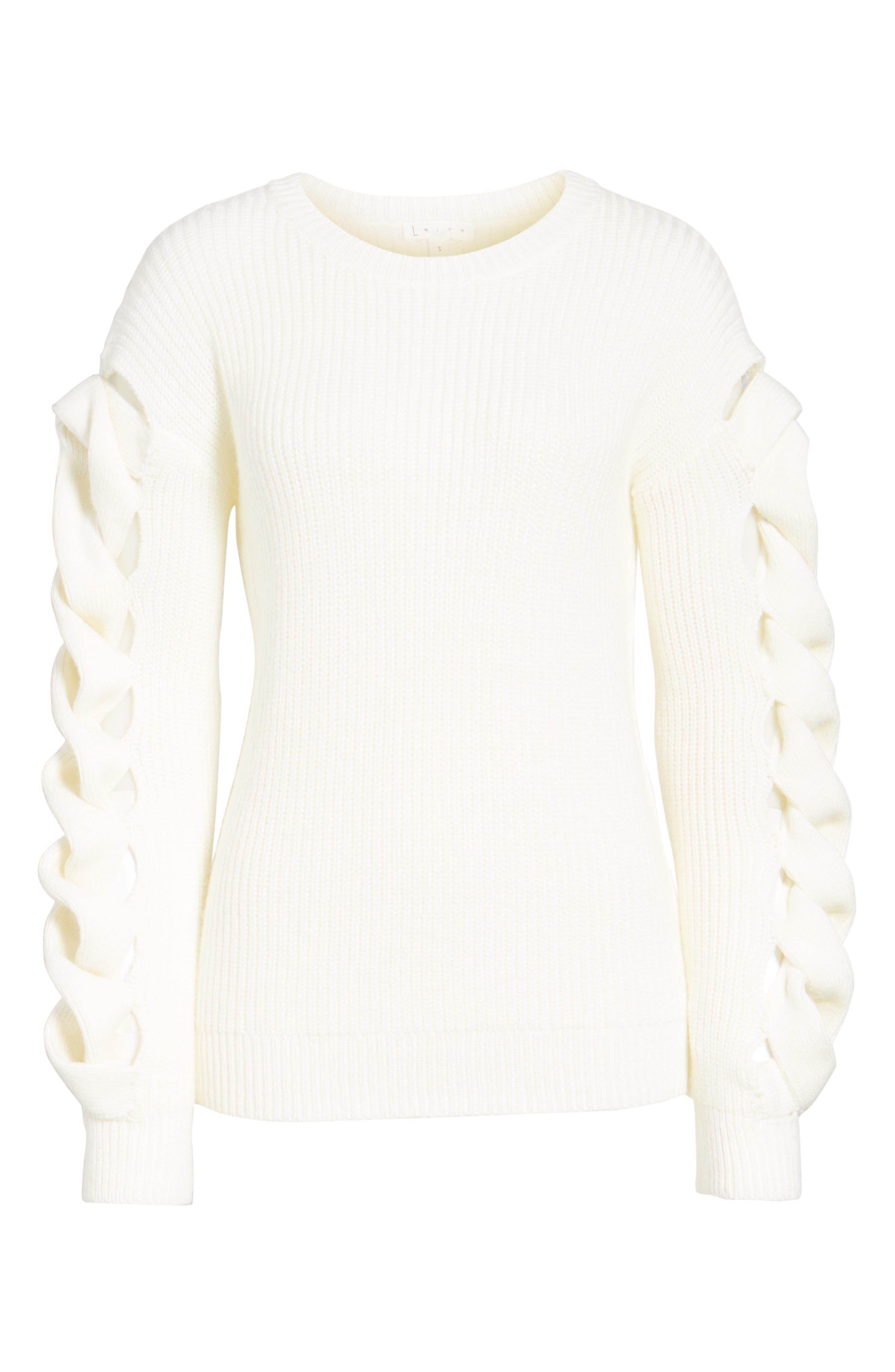 Twist Sleeve Sweater,                             Alternate thumbnail 18, color,