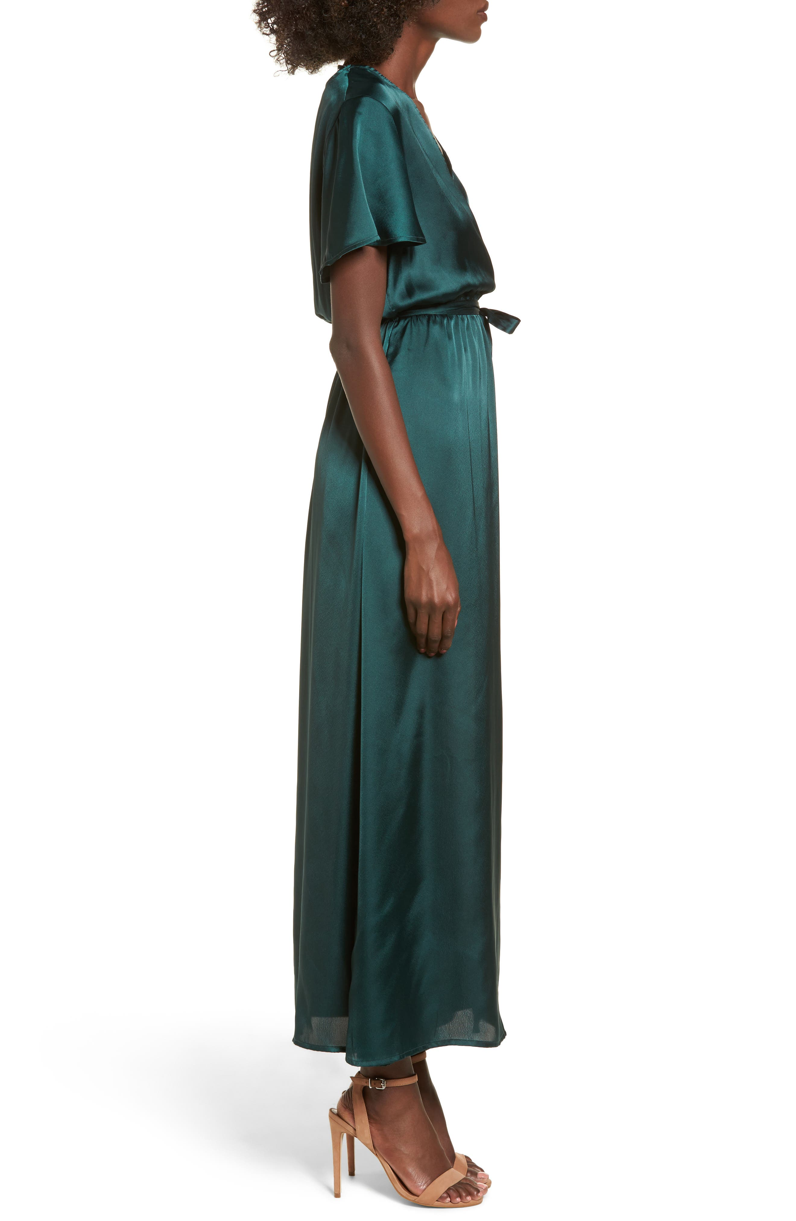 EZ Days Satin Wrap Maxi Dress,                             Alternate thumbnail 3, color,                             300