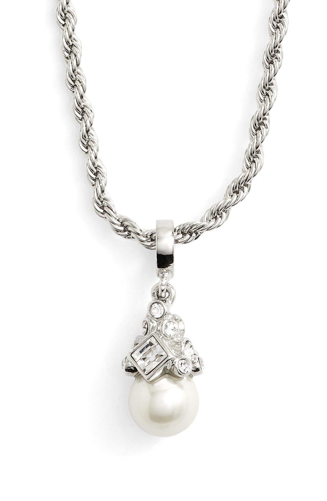 Imitation Pearl Pendant Necklace,                         Main,                         color, SILVER