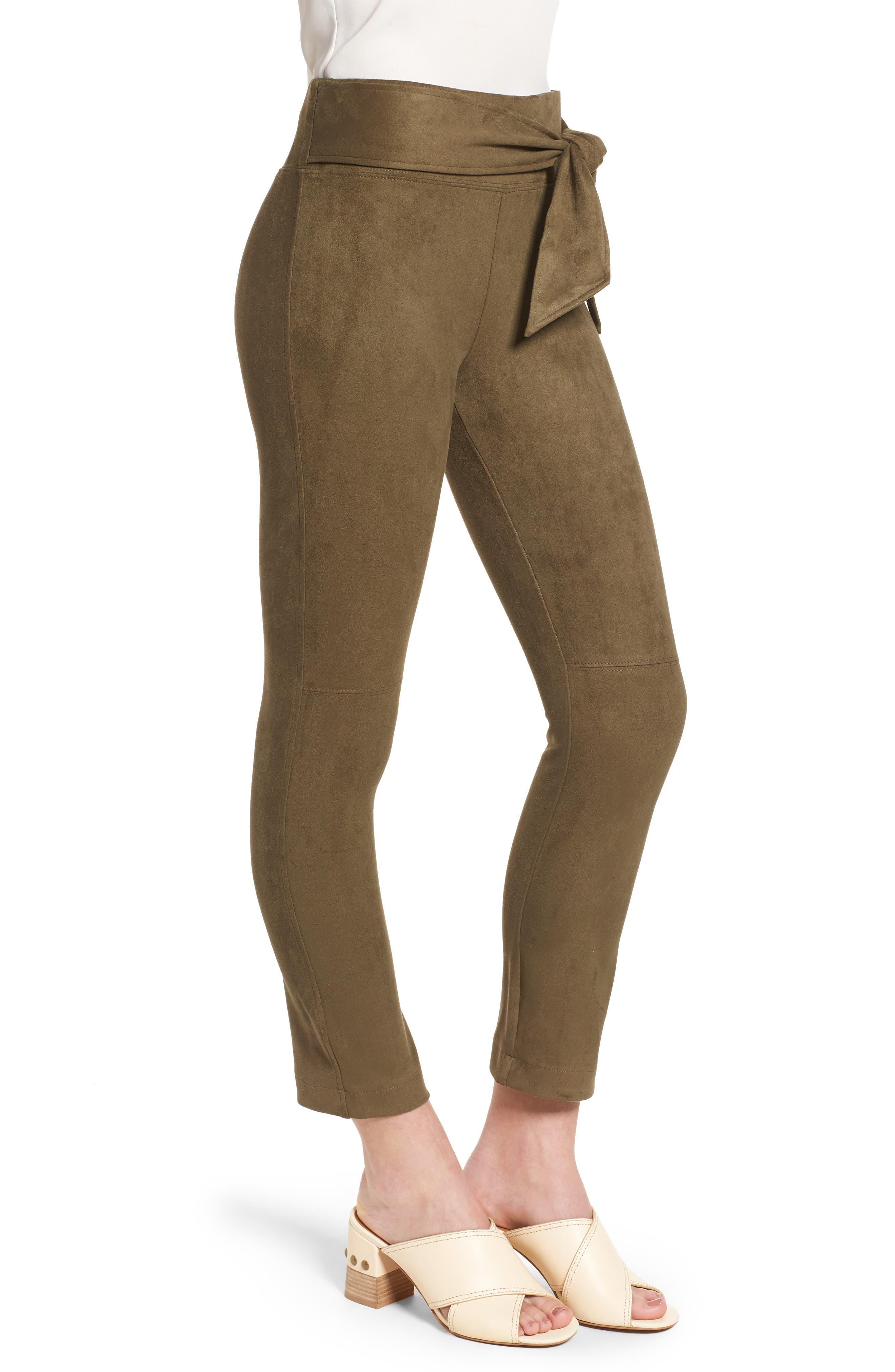 DAVID LERNER,                             Waist Tie Skimmer Leggings,                             Alternate thumbnail 3, color,                             ARMY GREEN