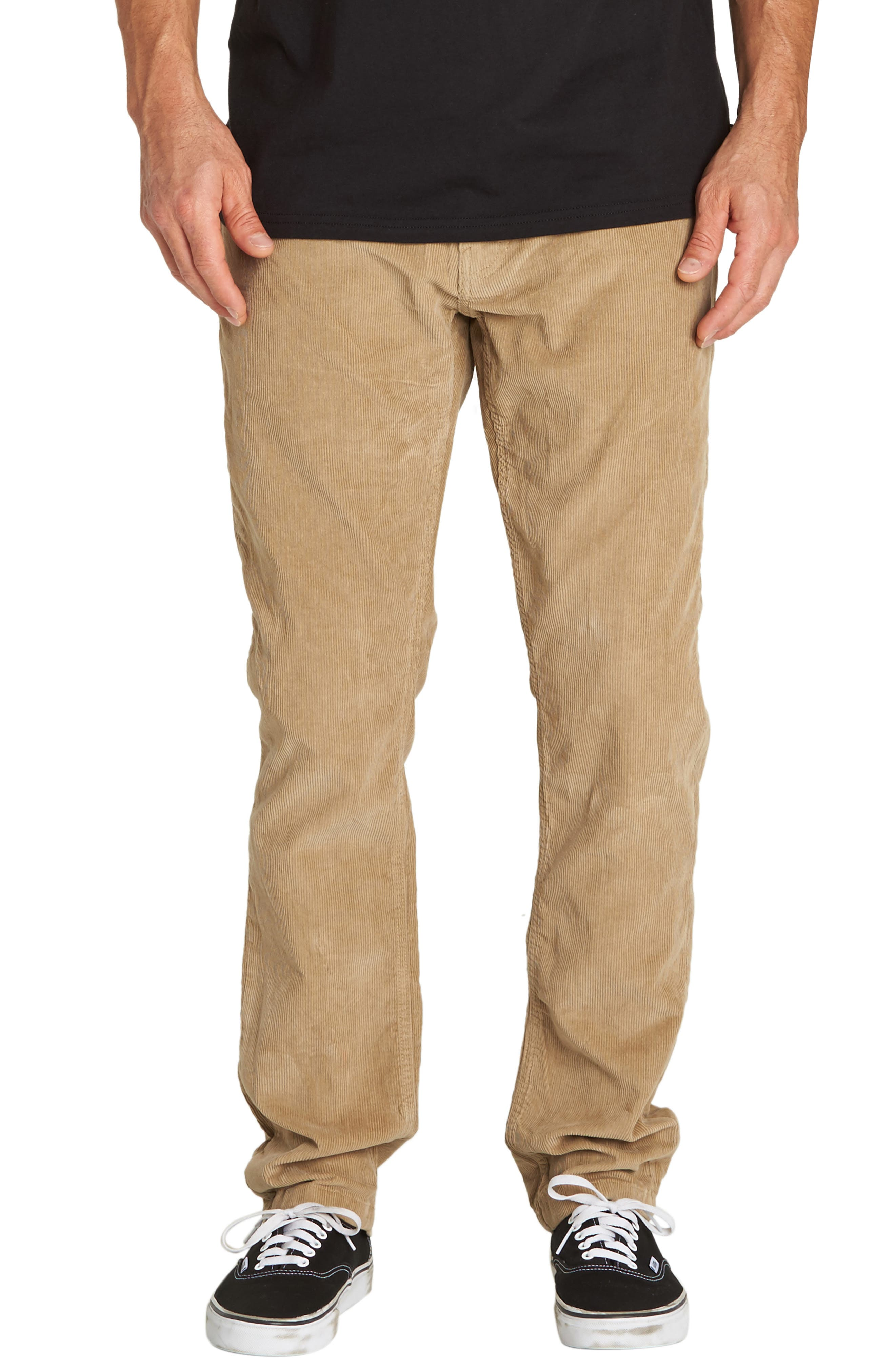 Outsider Slim Straight Leg Corduroy Pants,                         Main,                         color, GRAVEL
