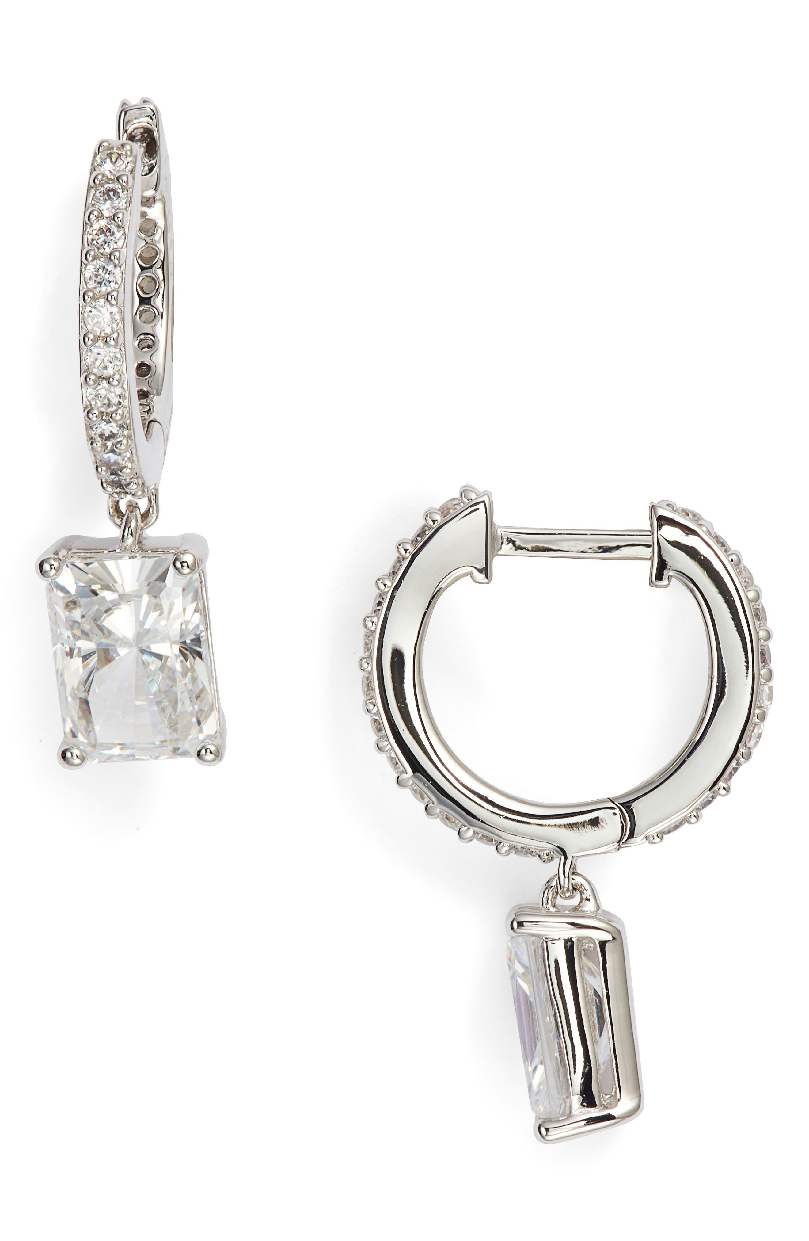 NADRI Baguette Cut Crystal Drop Earrings in White
