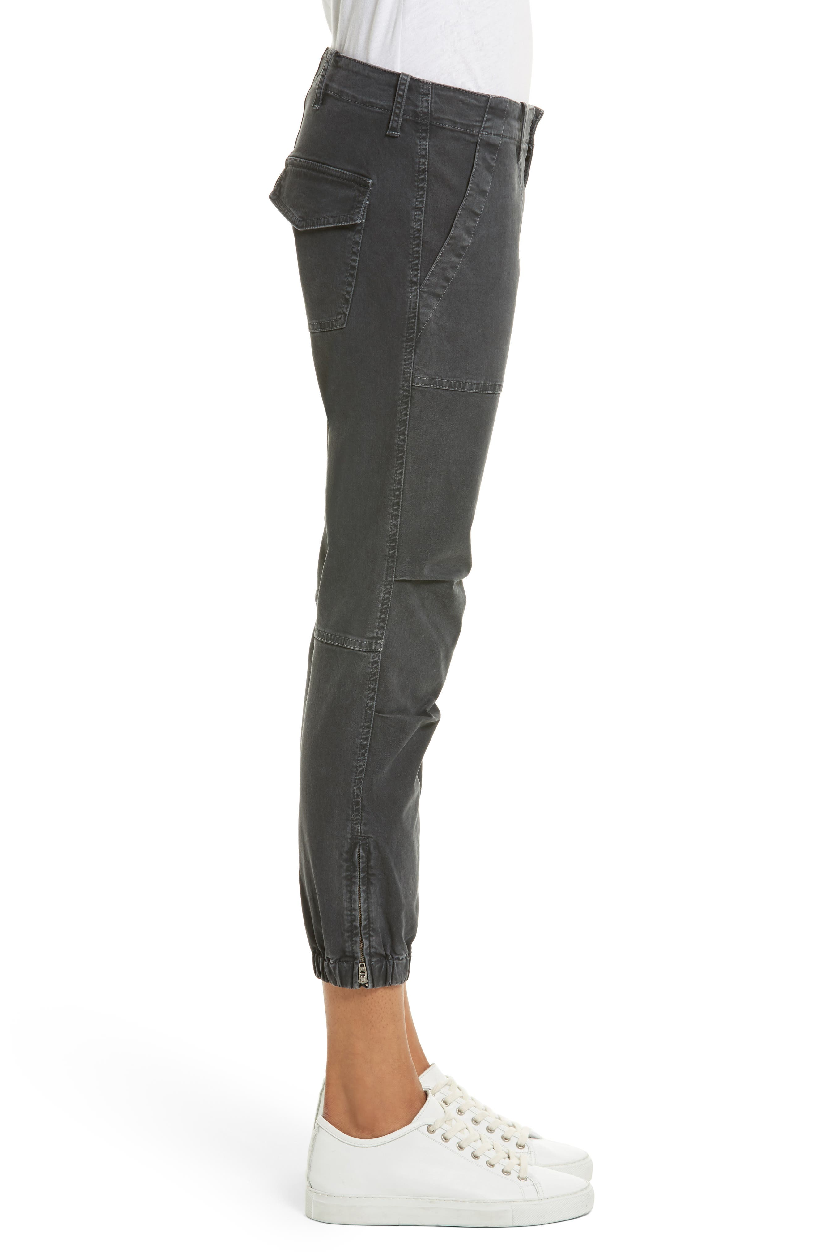 Stretch Cotton Twill Crop Military Pants,                             Alternate thumbnail 3, color,                             CARBON