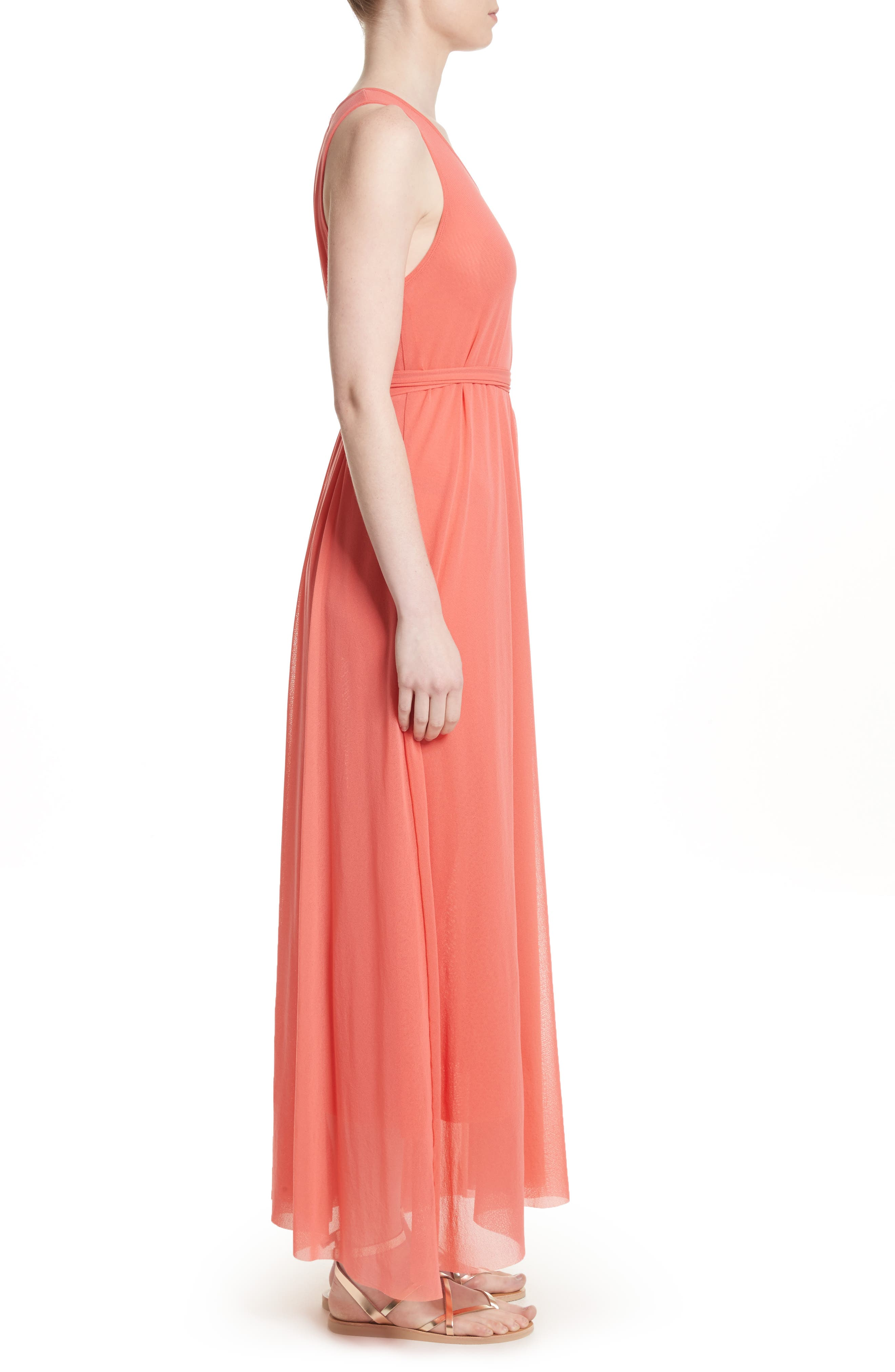 Belted Tulle Maxi Dress,                             Alternate thumbnail 6, color,