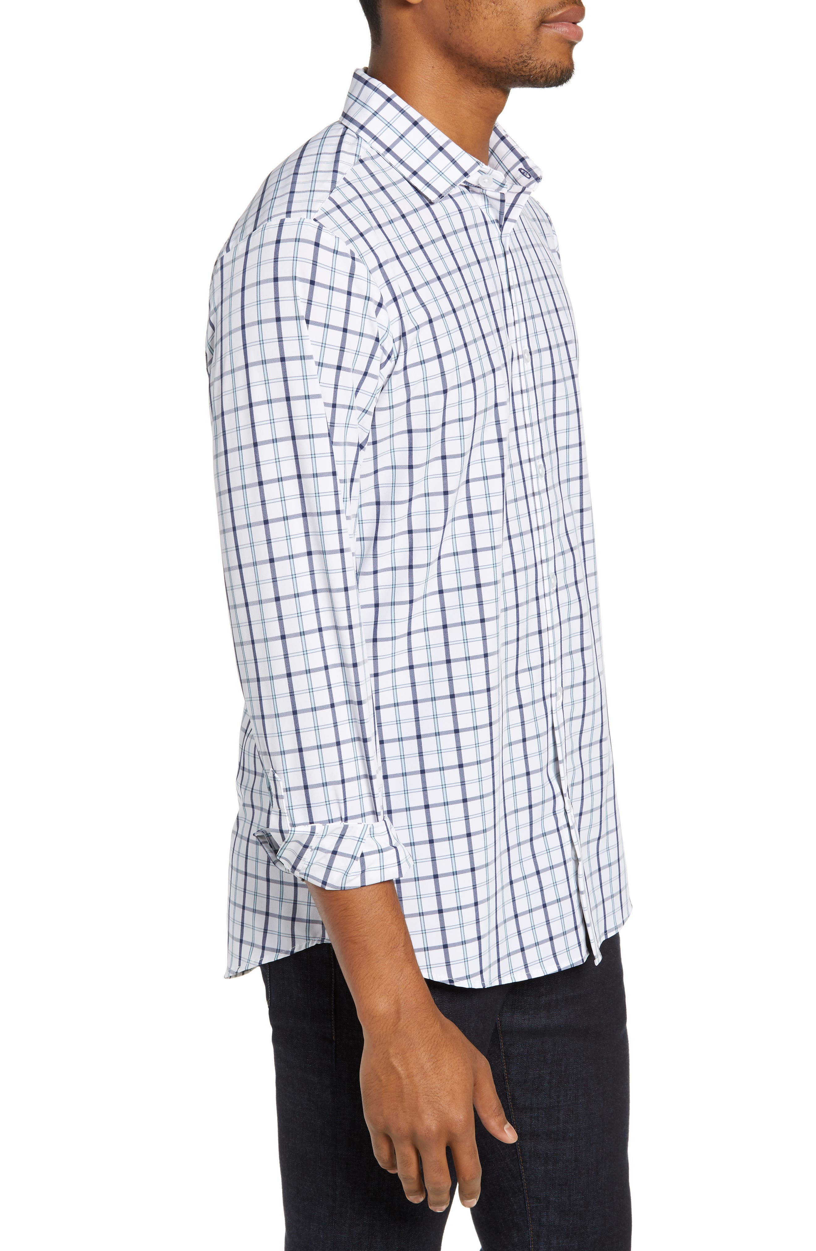 Bowers Regular Fit Check Performance Sport Shirt,                             Alternate thumbnail 4, color,                             NAVY