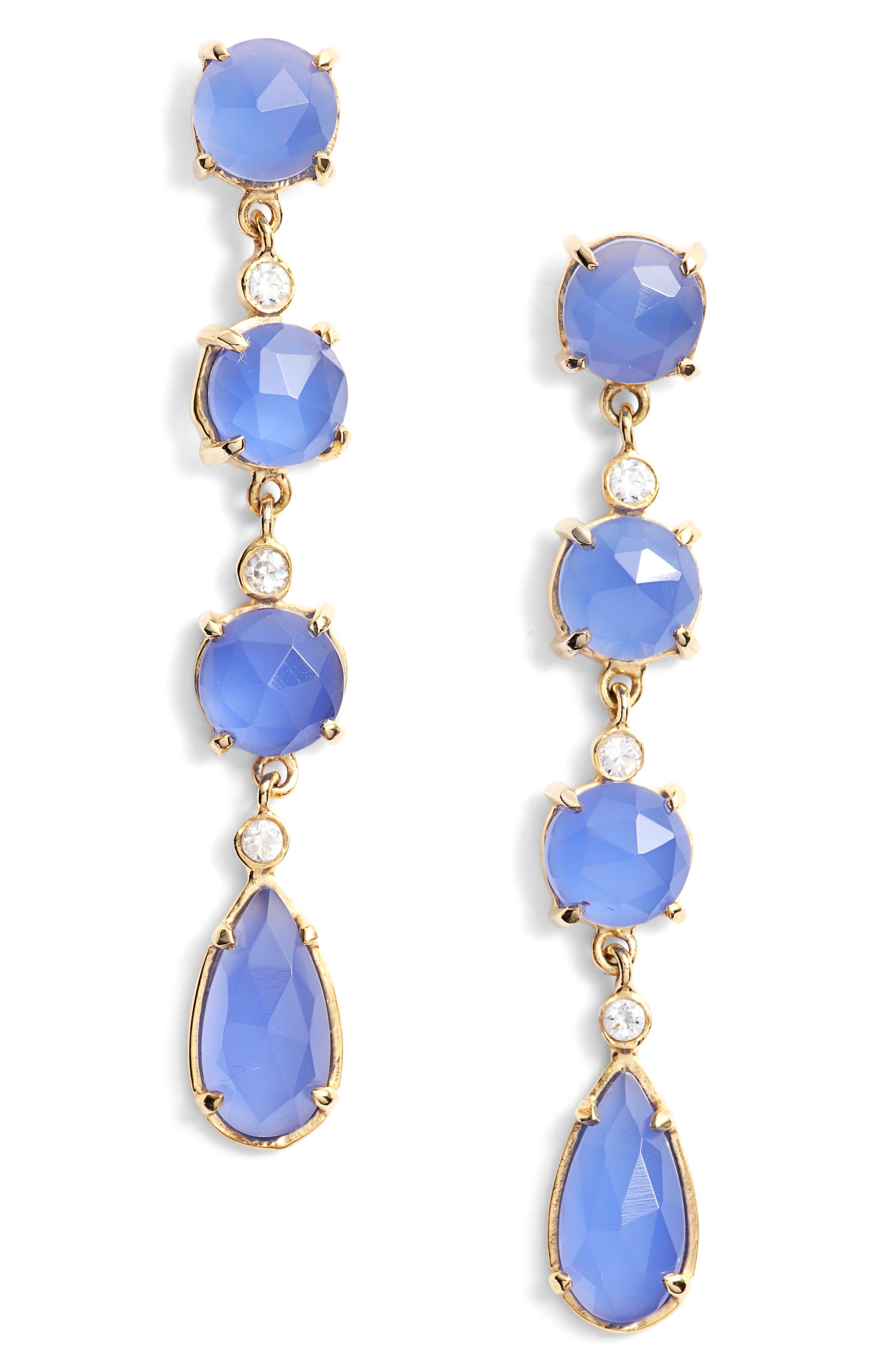 Stone Linear Drop Earrings,                             Main thumbnail 1, color,                             IOLITE/ GOLD