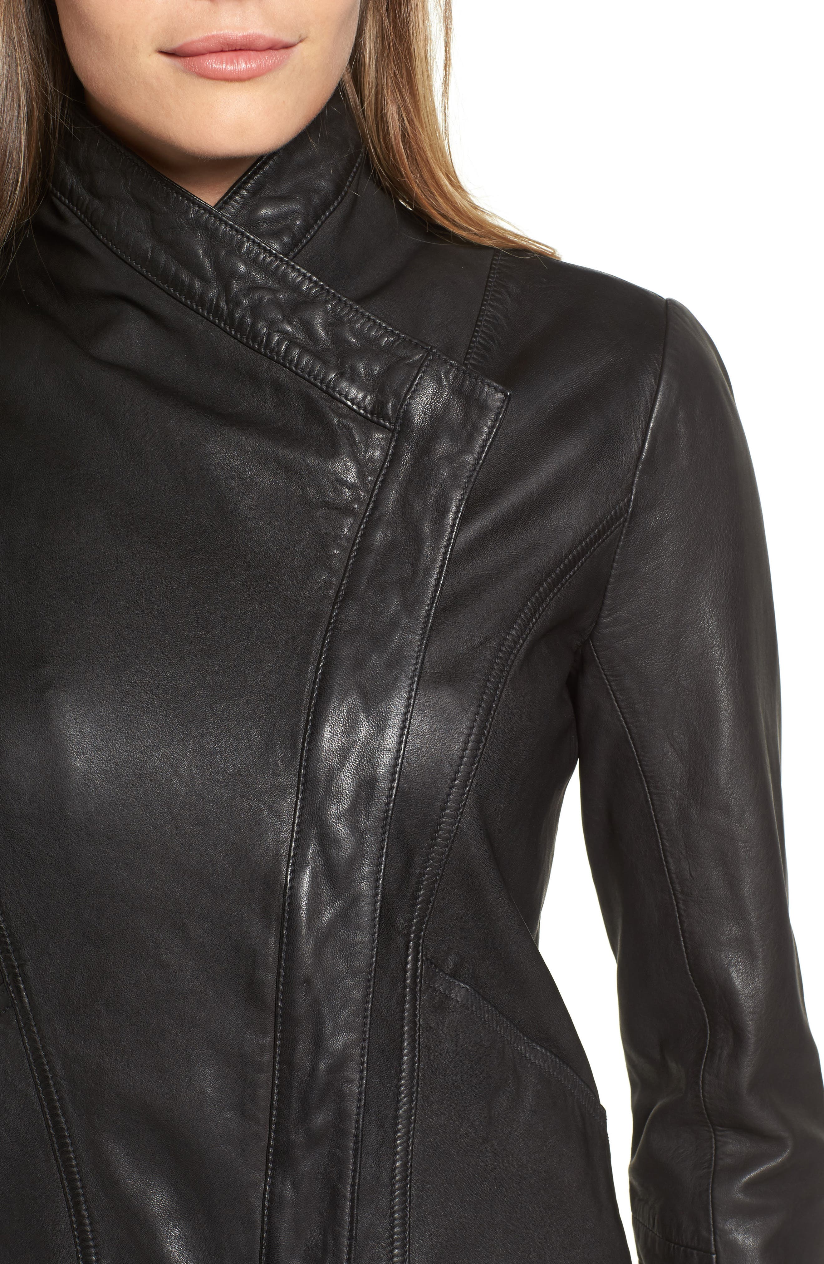 Leather Jacket,                             Alternate thumbnail 4, color,