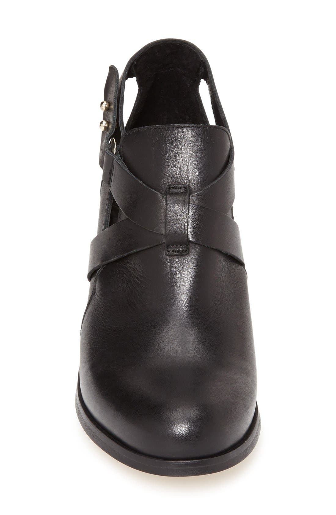 TOPSHOP,                             'Mirror' Crisscross Strap Leather Ankle Boot,                             Alternate thumbnail 2, color,                             001