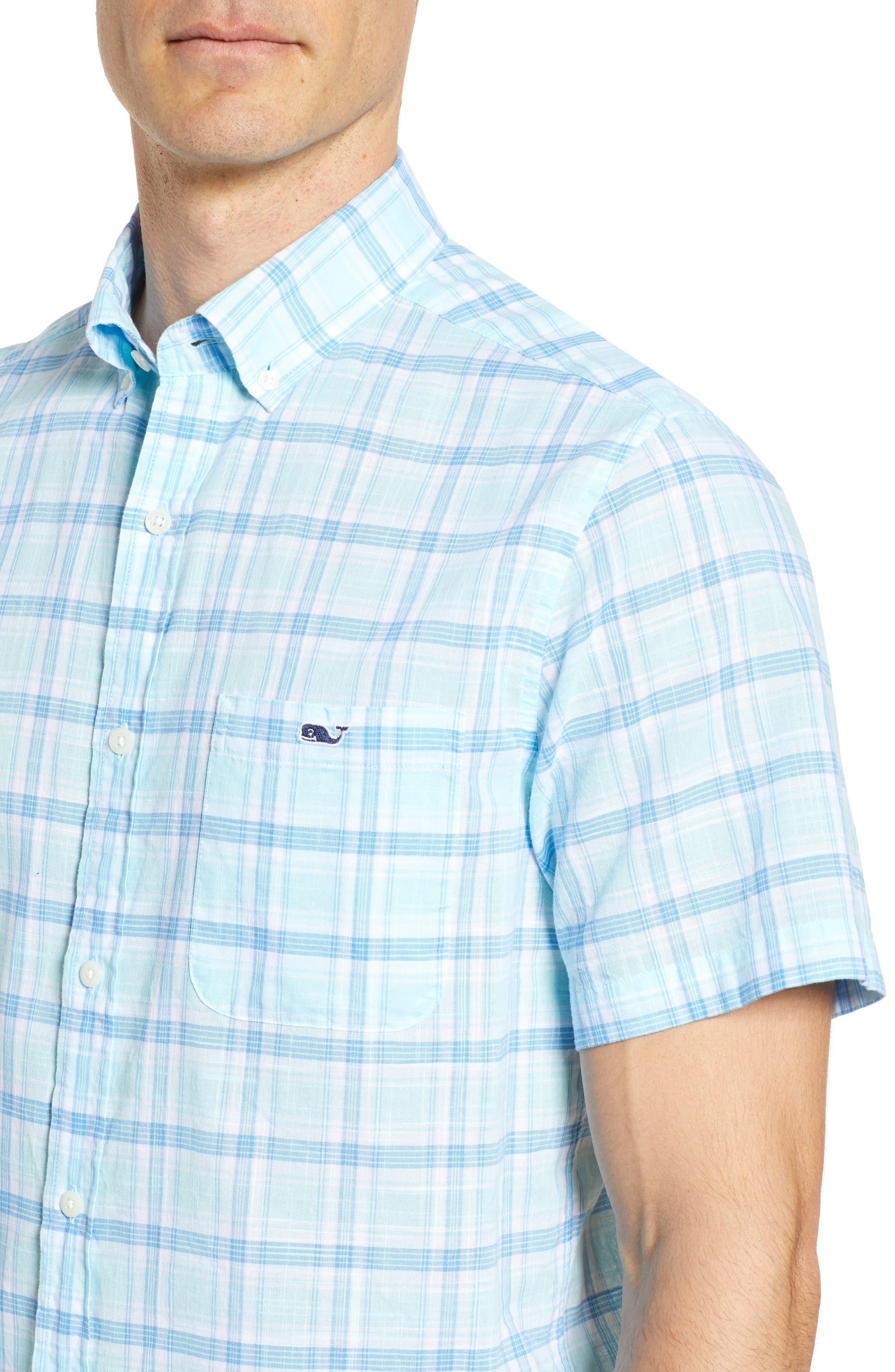 Pleasant Bay Classic Fit Plaid Sport Shirt,                             Alternate thumbnail 4, color,                             437