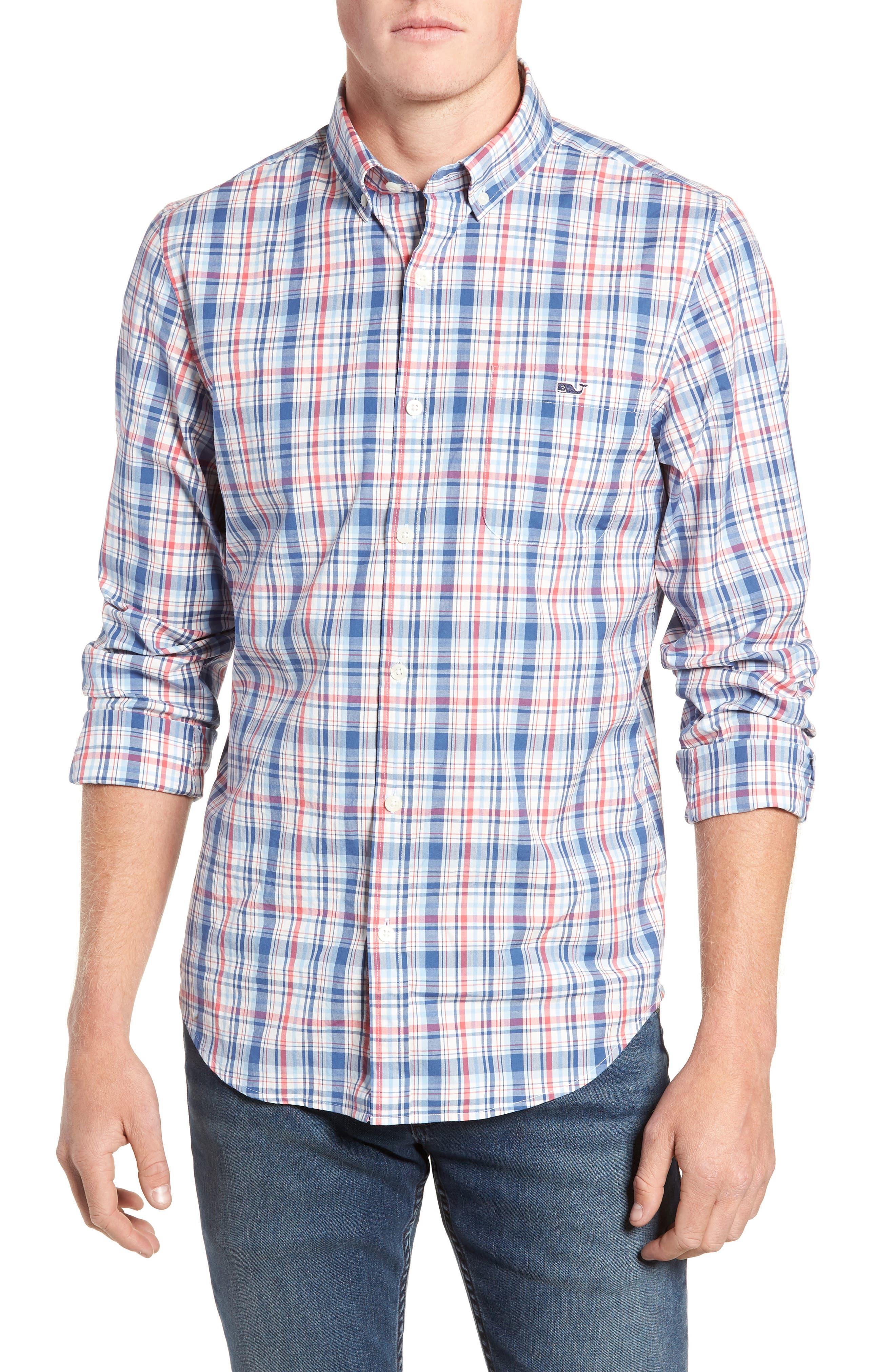 Duke's County Slim Fit Plaid Shirt,                             Main thumbnail 1, color,                             MOONSHINE