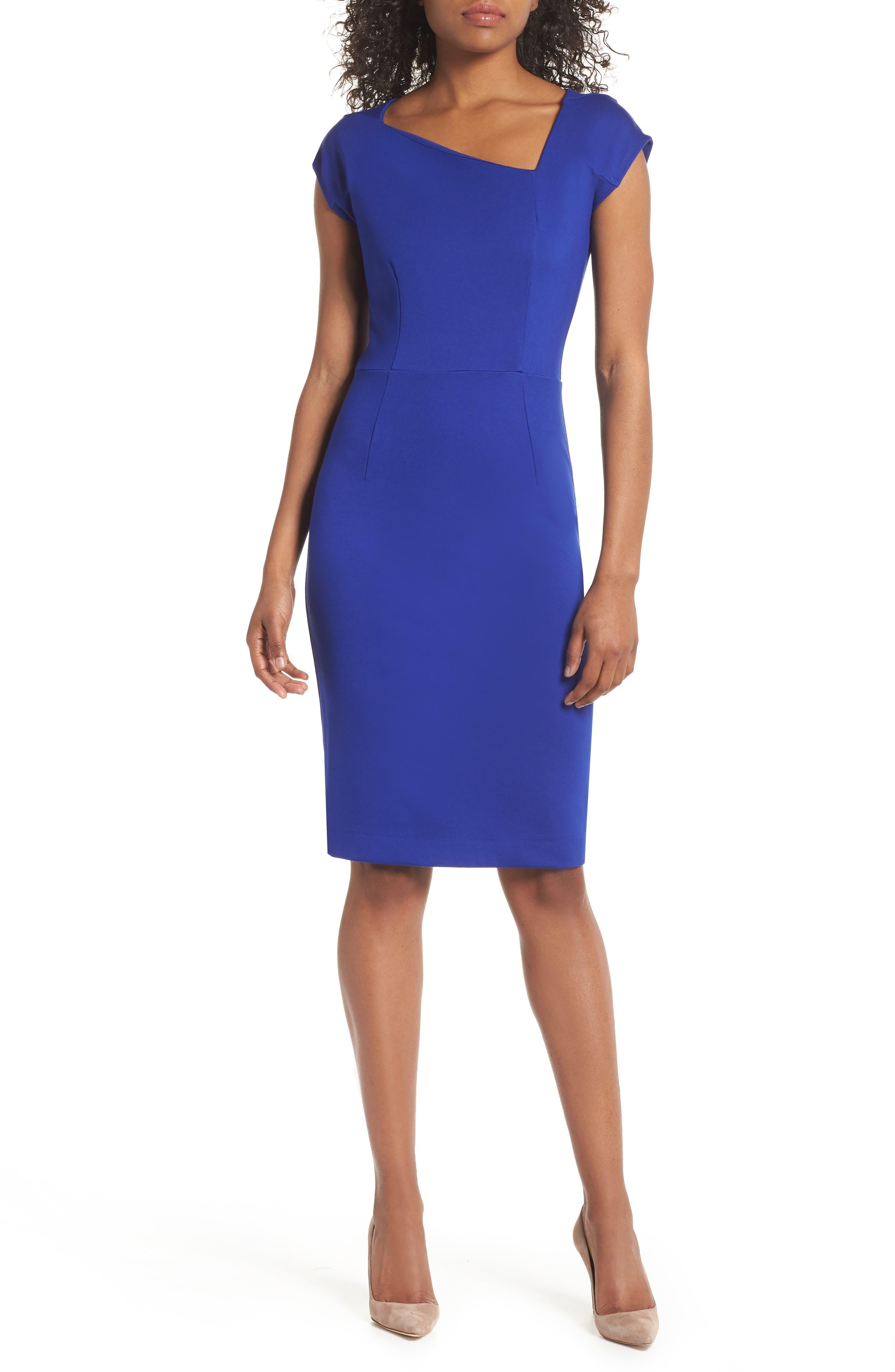 French Connection Lula Sheath Dress, Blue