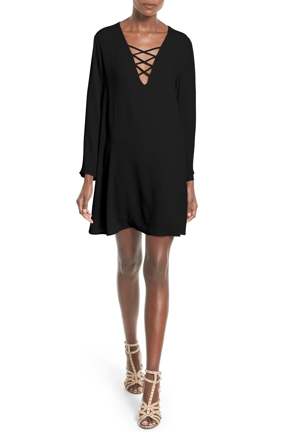 ASTR THE LABEL,                             ASTR Lace-Up Bell Sleeve Shift Dress,                             Main thumbnail 1, color,                             001