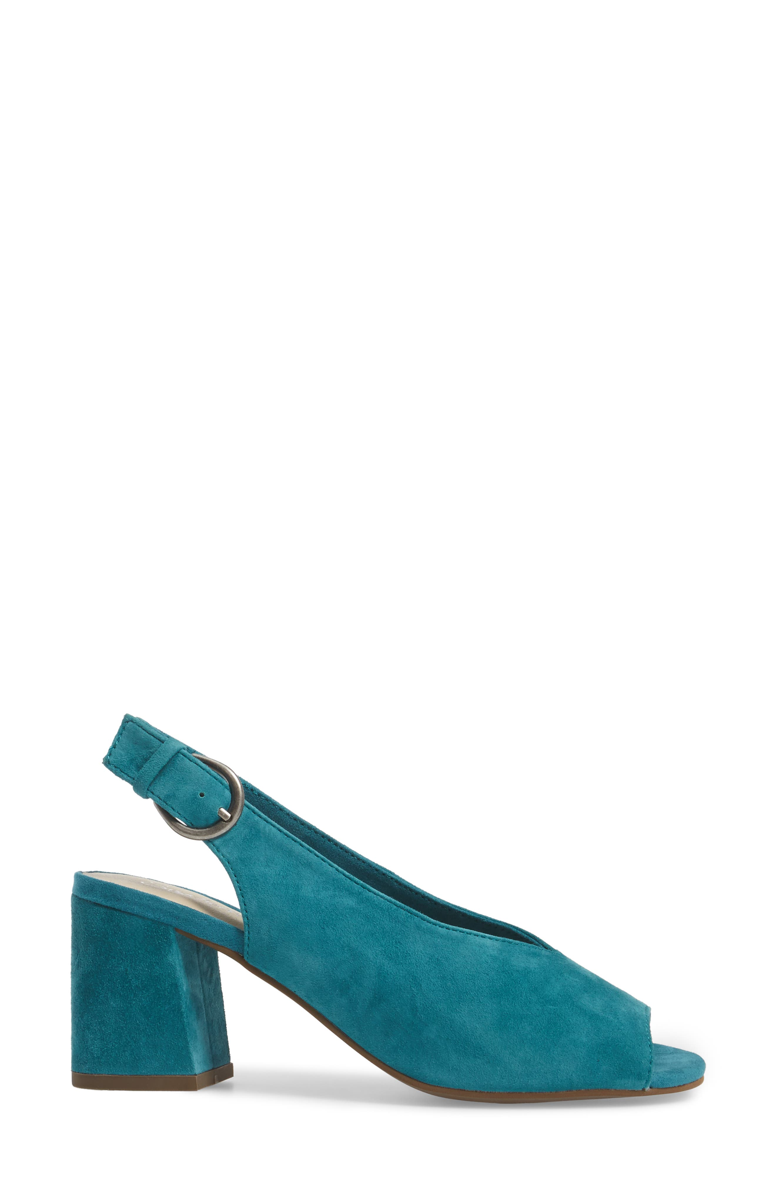 Playwright Slingback Sandal,                             Alternate thumbnail 3, color,                             TEAL SUEDE