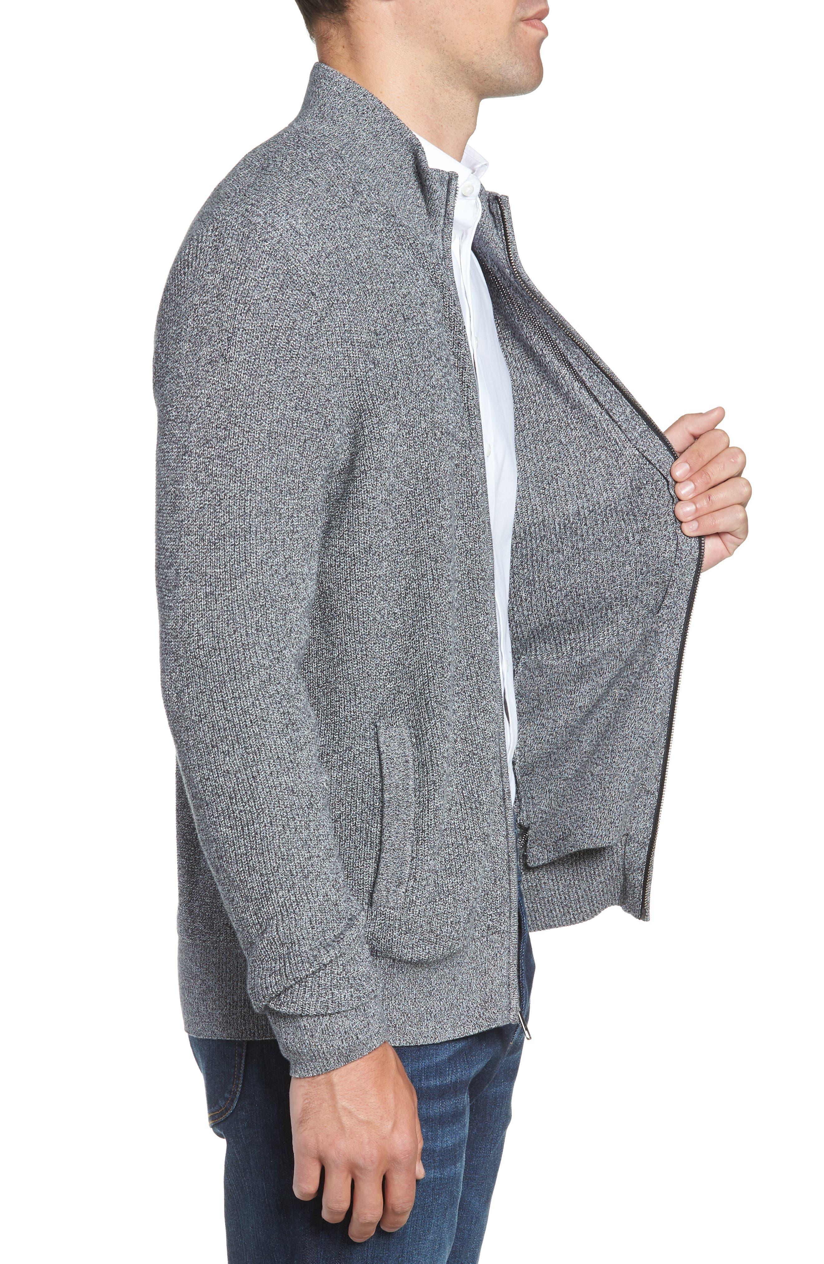Marled Mock Neck Zip Sweater,                             Alternate thumbnail 3, color,                             BLACK IVORY MARL