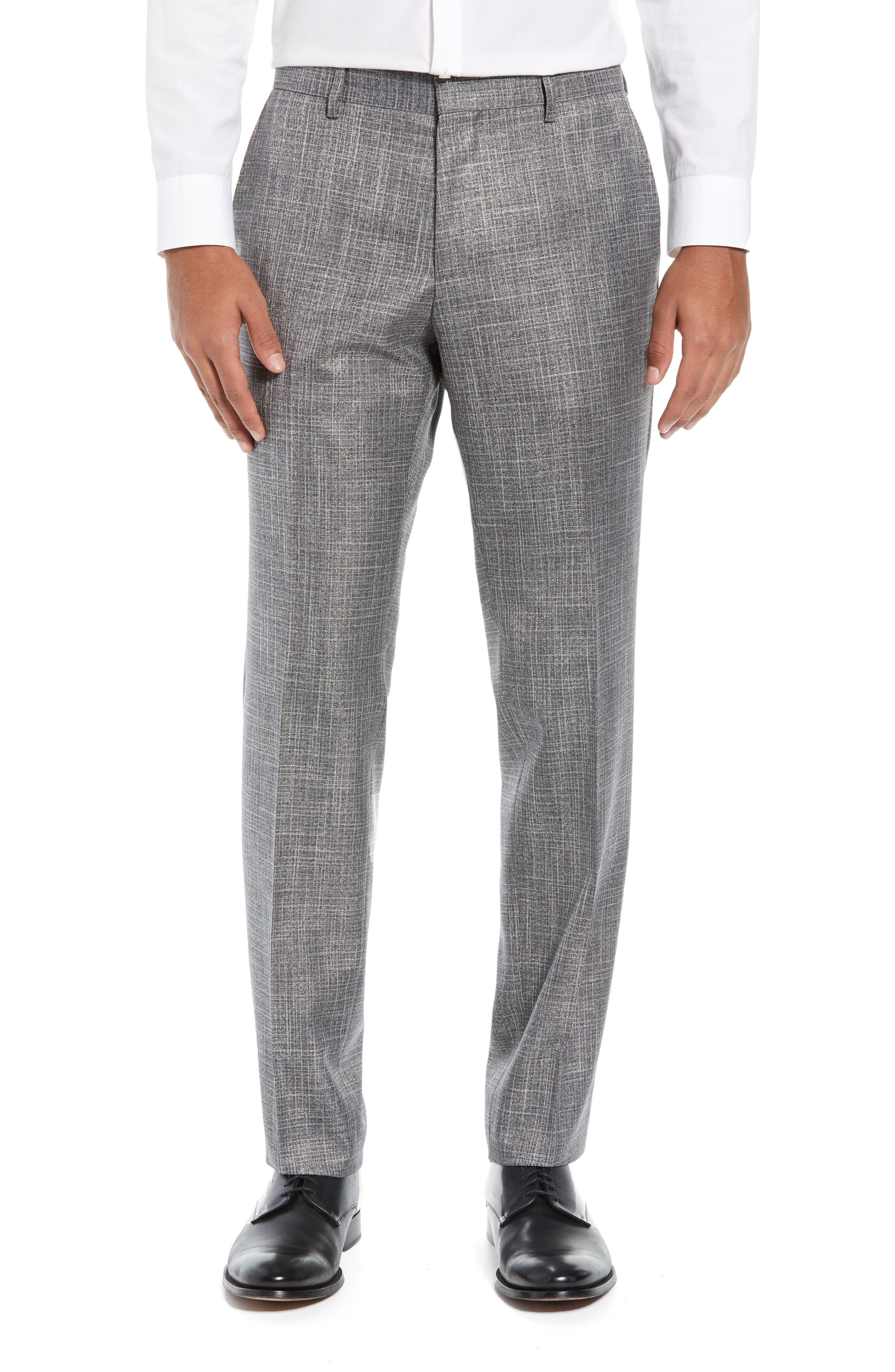 Hutson/Gander Trim Fit Solid Wool Blend Suit,                             Alternate thumbnail 6, color,                             MEDIUM GREY