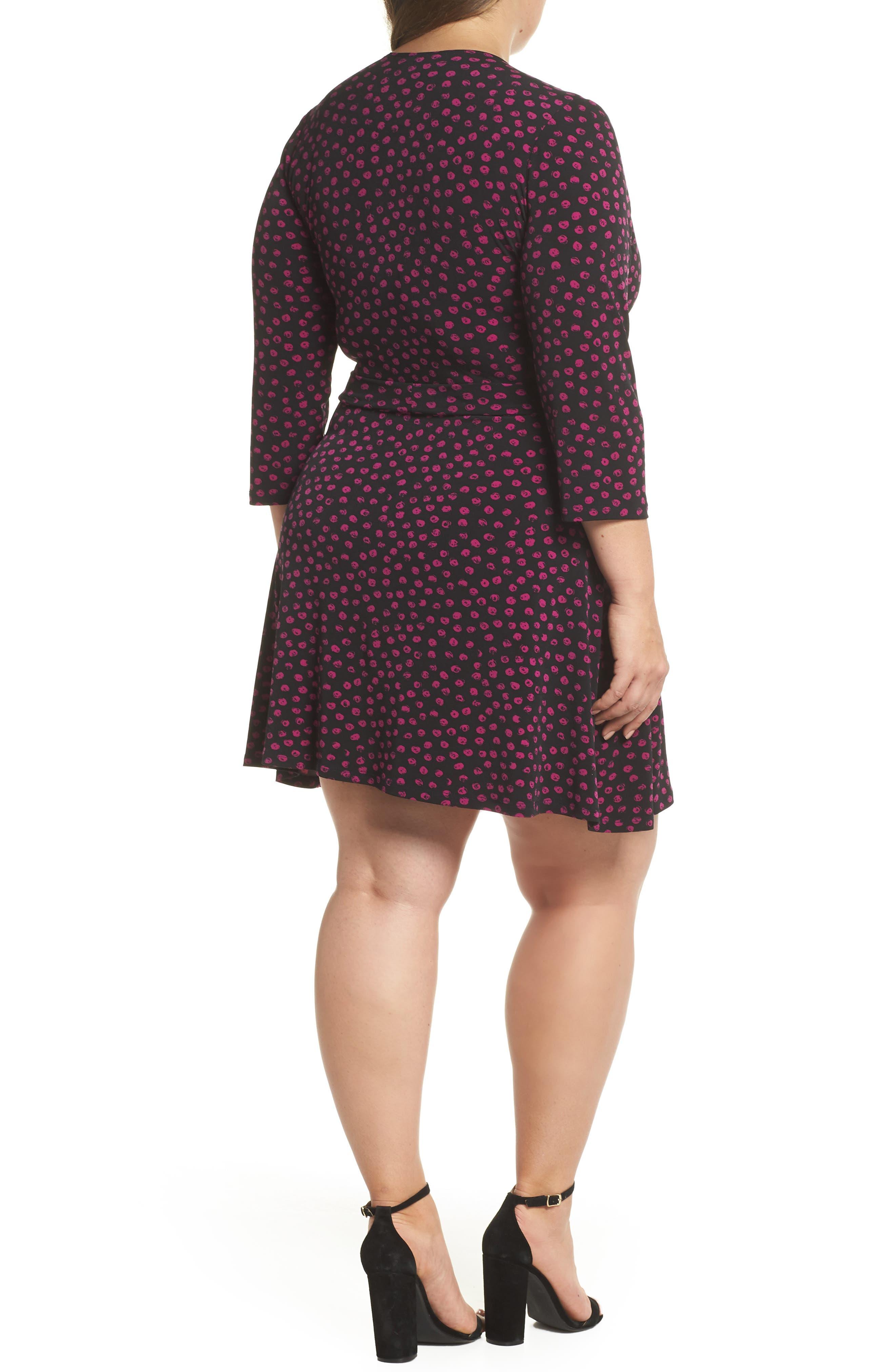 Perfect Faux Wrap Jersey Dress,                             Alternate thumbnail 2, color,                             APPALOOSA BLACK