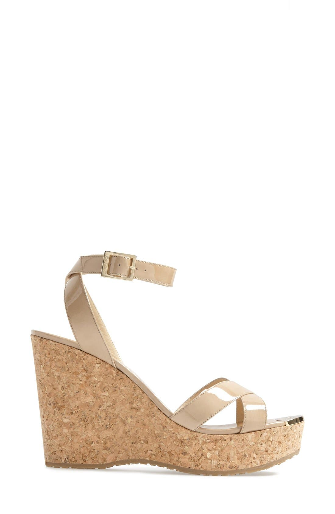 JIMMY CHOO,                             'Papyrus' Cork Wedge Sandal,                             Alternate thumbnail 2, color,                             250