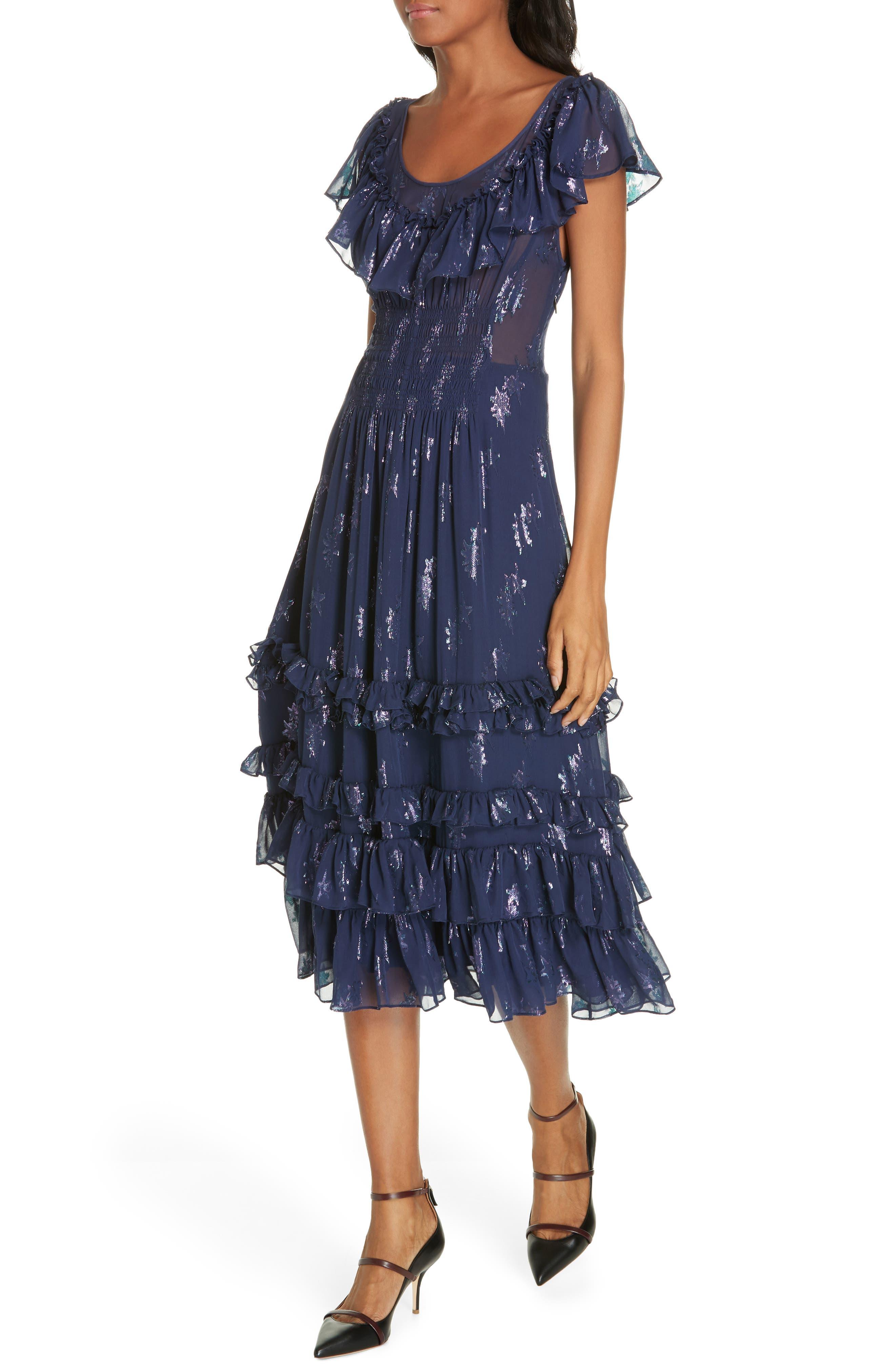 Metallic Stars Midi Dress,                             Alternate thumbnail 4, color,                             GEMINI