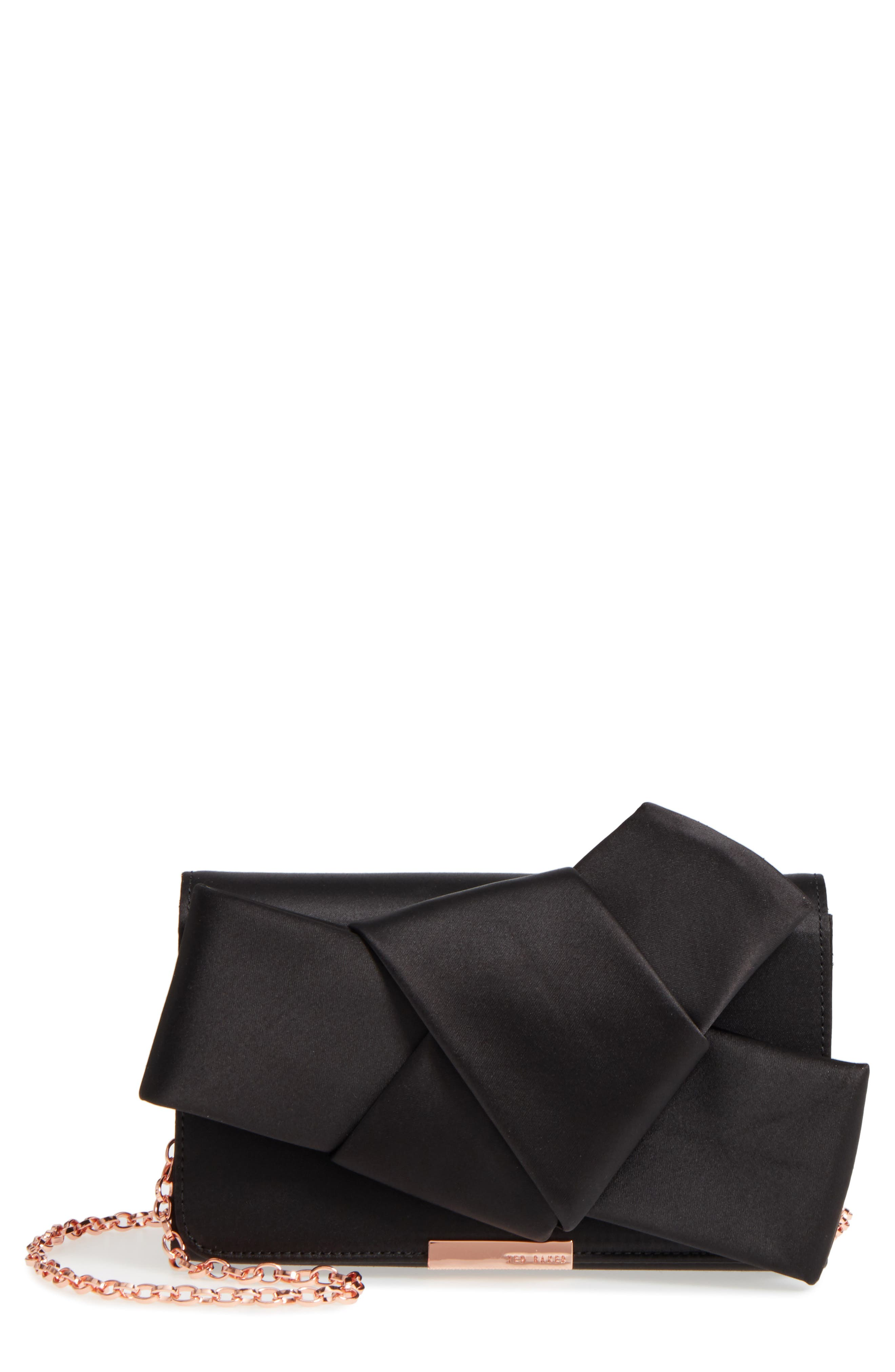 Fefee Satin Knotted Bow Clutch,                             Main thumbnail 1, color,                             001
