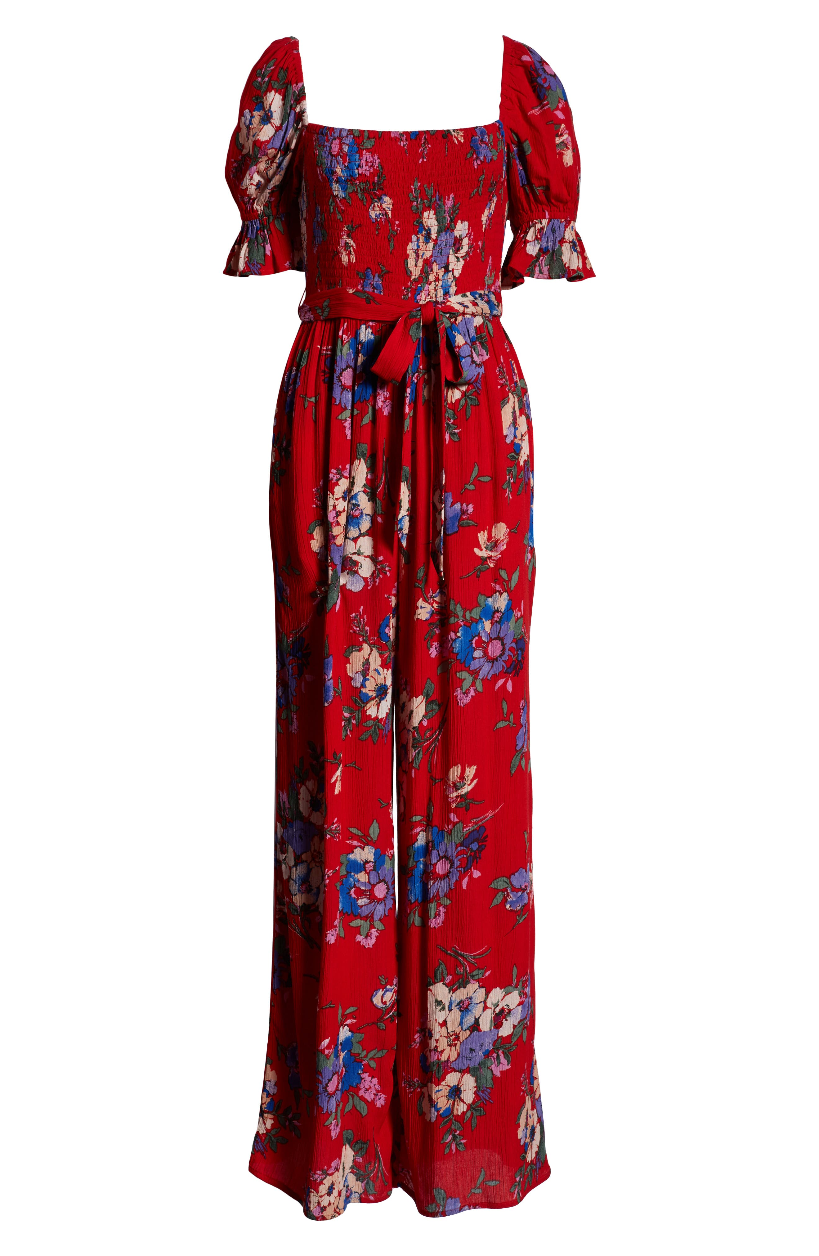 BAND OF GYPSIES,                             Manchester Smocked Jumpsuit,                             Alternate thumbnail 7, color,                             RED/ ROYAL