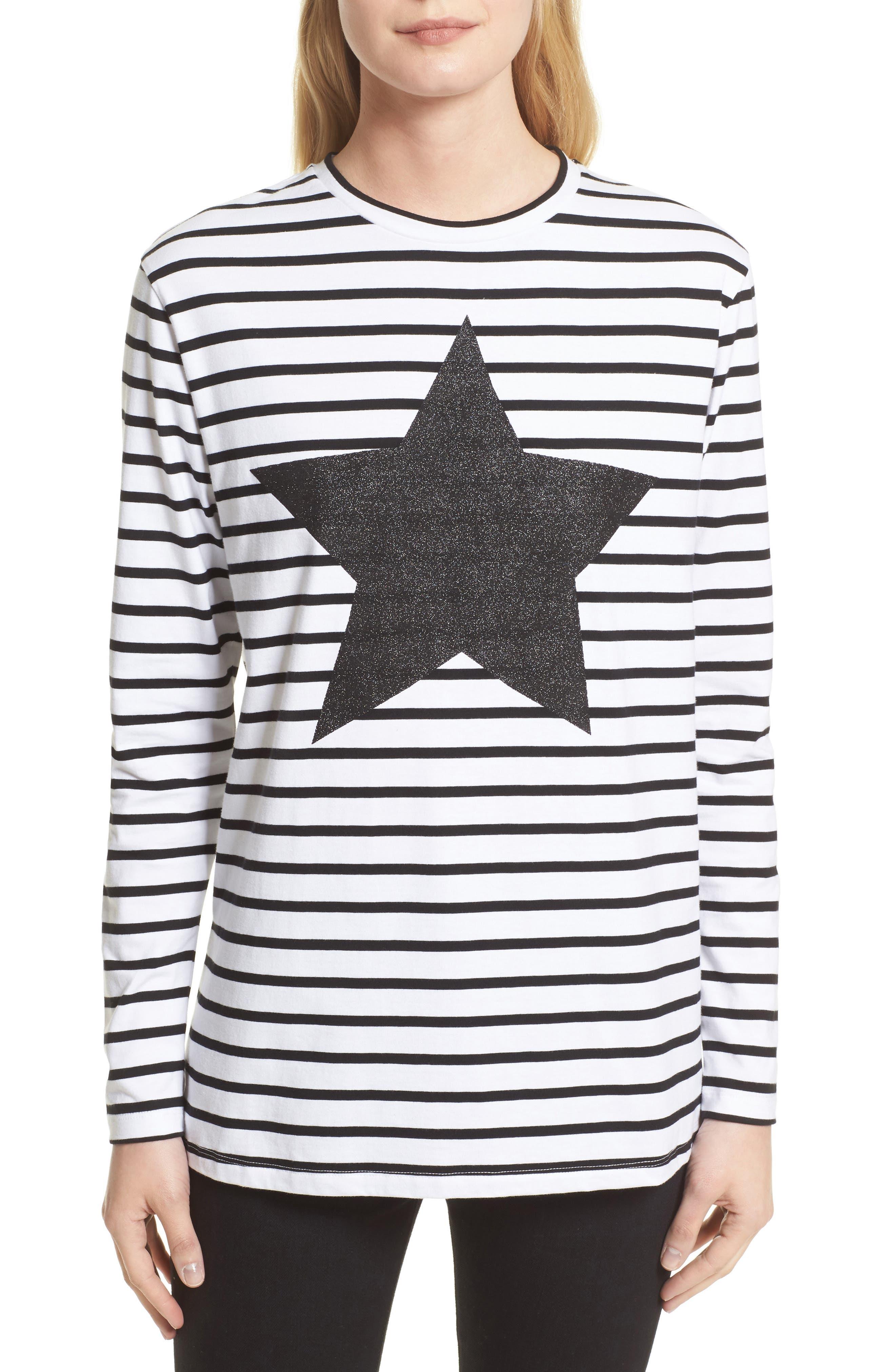 être cécile Star Stripe Tee,                         Main,                         color, 001