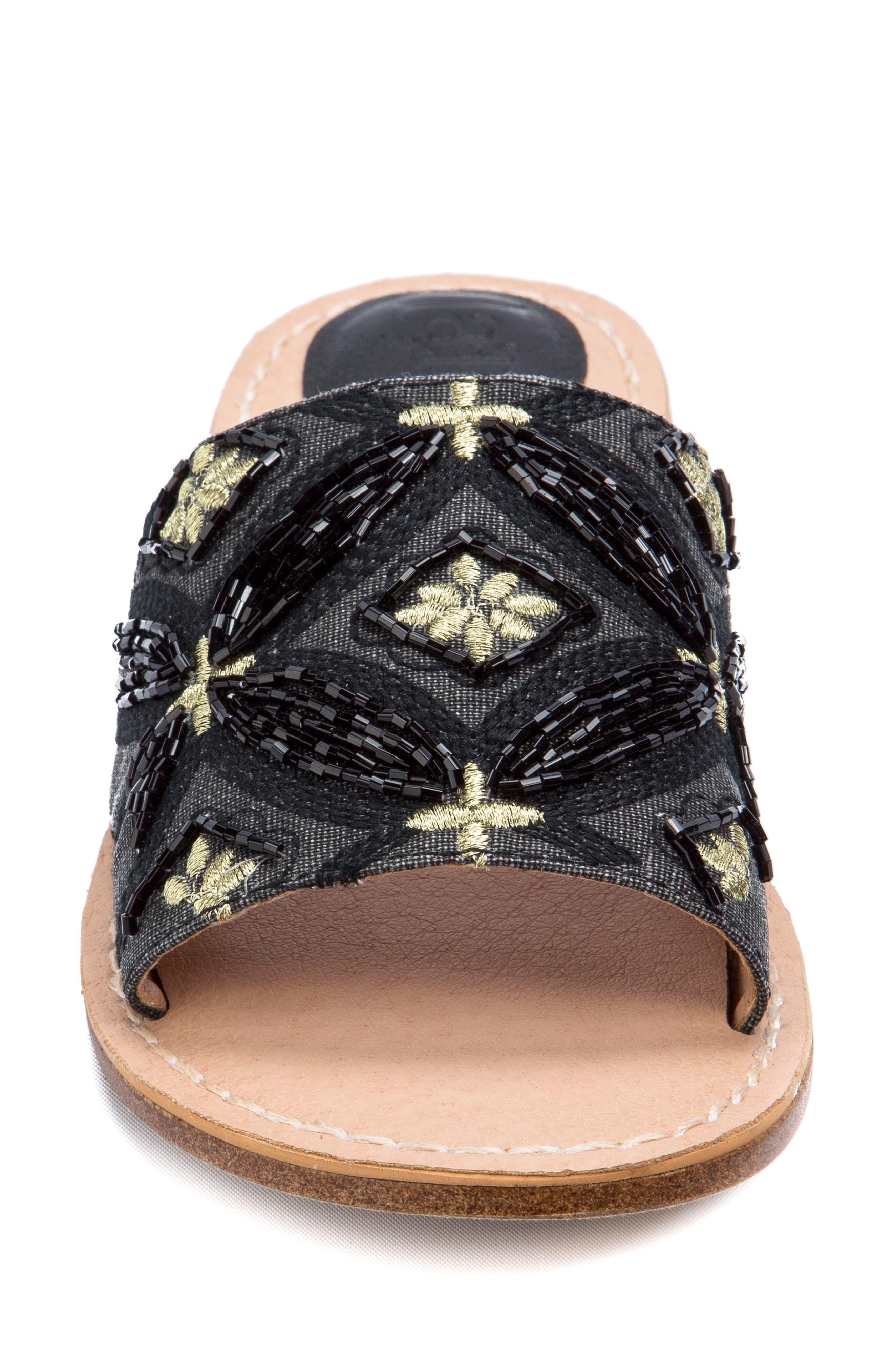 Vella Embellished Slide Sandal,                             Alternate thumbnail 4, color,                             001