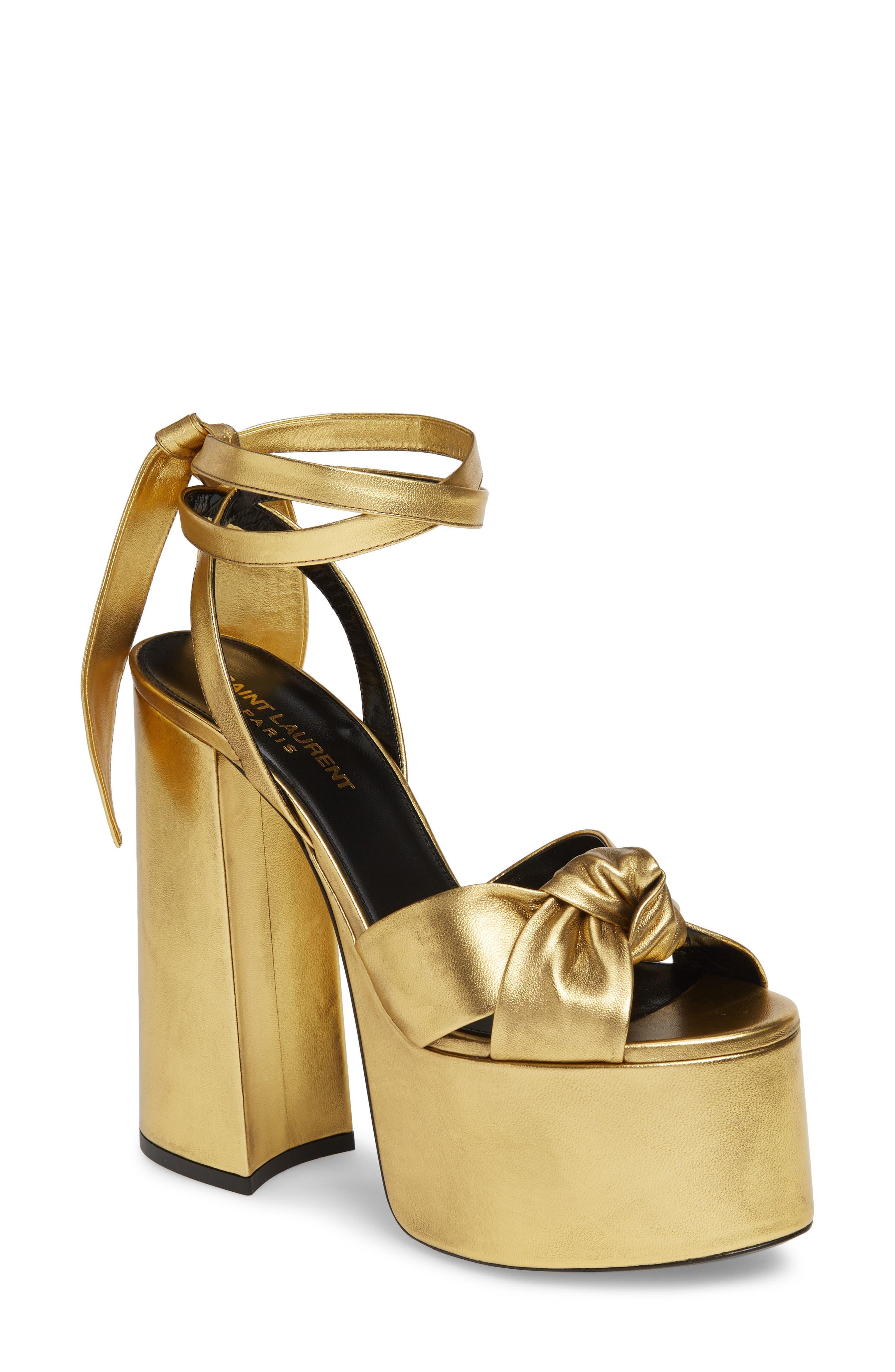 60s Shoes, Boots   70s Shoes, Platforms, Boots Womens Saint Laurent Paige Platform Sandal $1,095.00 AT vintagedancer.com