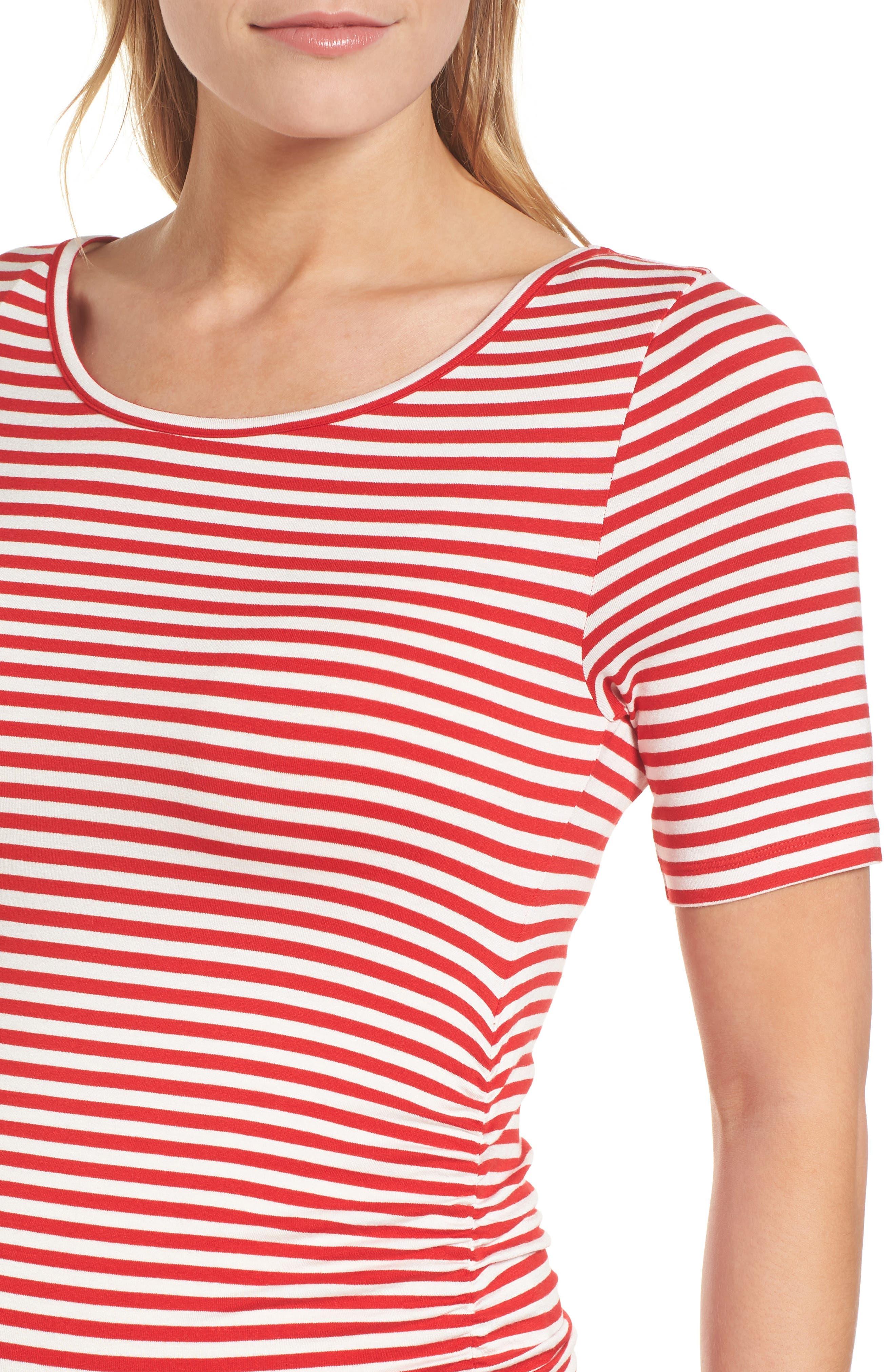 Jenna Stripe Maternity T-Shirt Dress,                             Alternate thumbnail 4, color,                             RED/OFF WHITE STRIPE