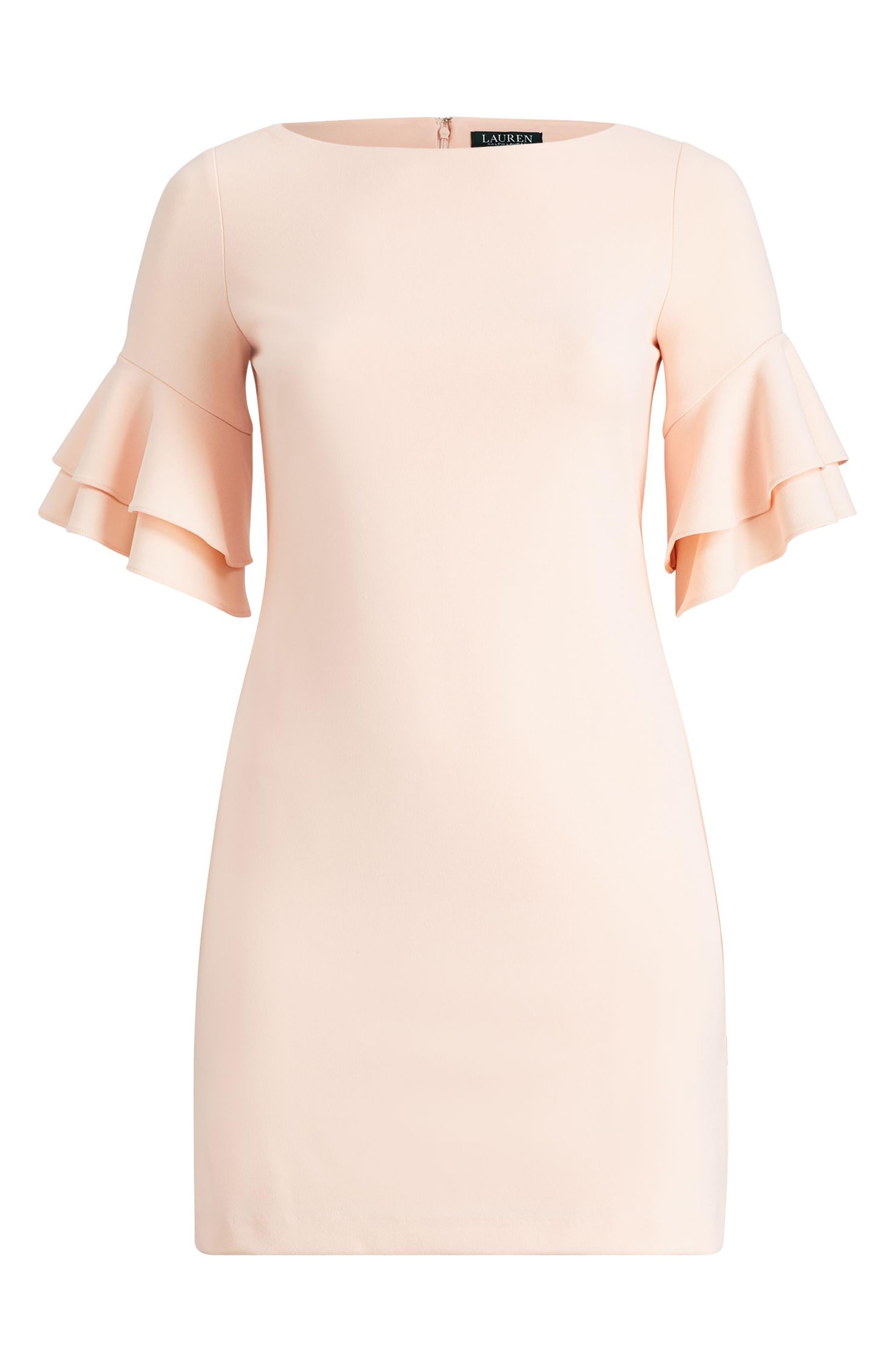Ruffle Sleeve Crepe Dress,                             Alternate thumbnail 5, color,