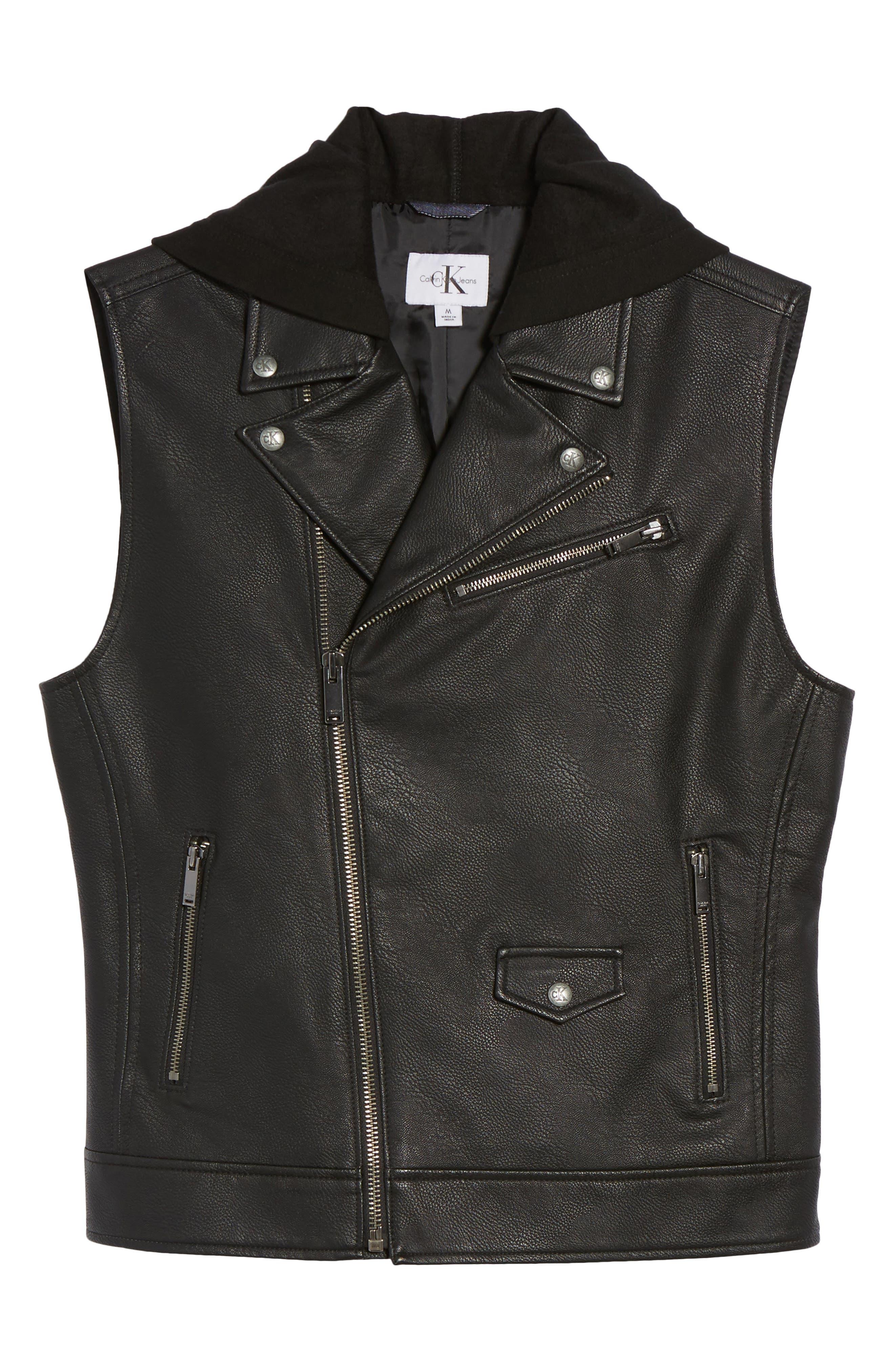 Faux Leather Hooded Biker Vest,                             Alternate thumbnail 5, color,                             010