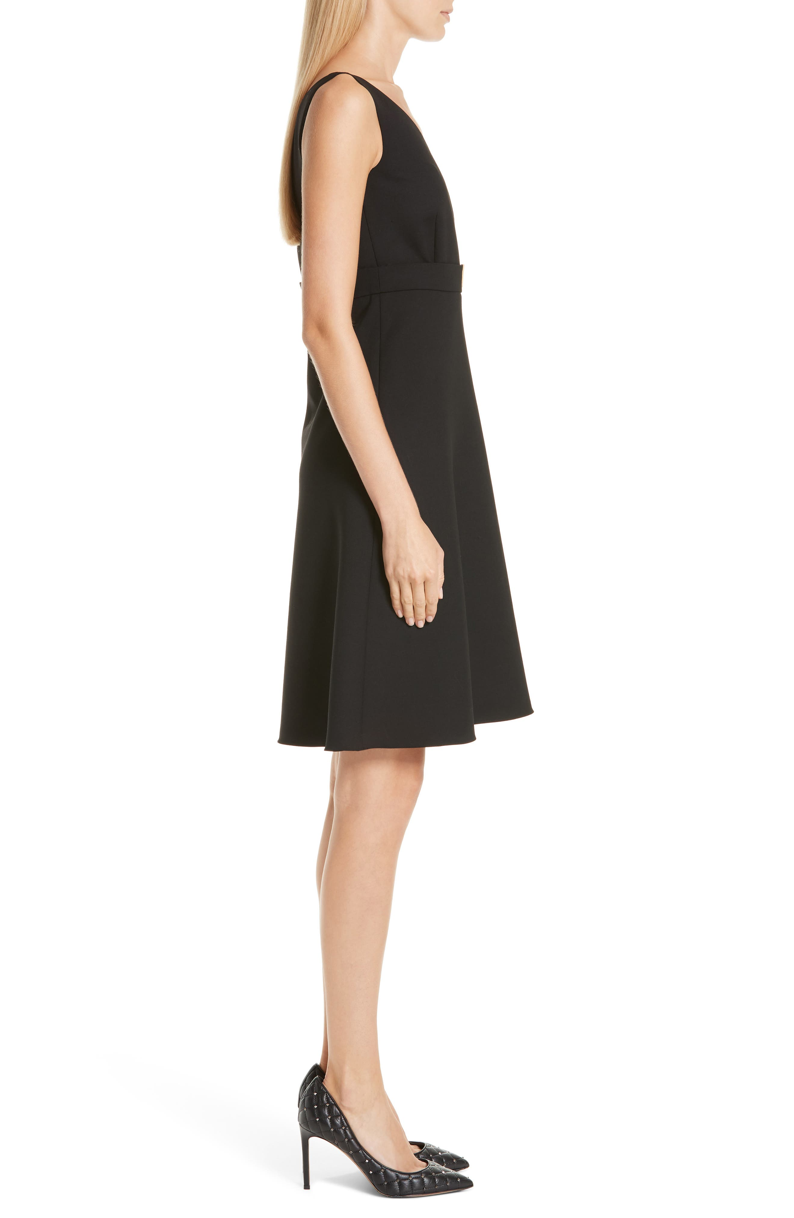 V-Hardware Double Crepe Dress,                             Alternate thumbnail 3, color,                             BLACK